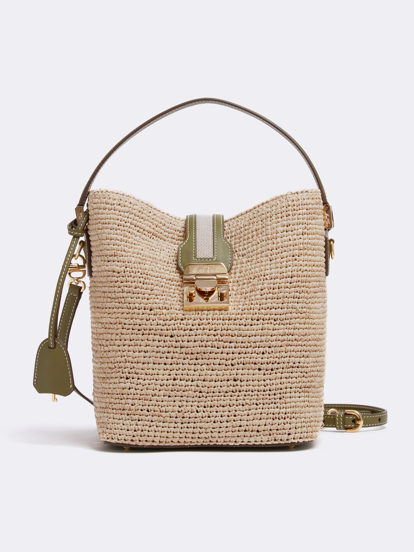 Mark Cross Murphy Raffia & Leather Bucket Bag Tumbled Grain Avocado / Birdseye / Natural Raffia Front