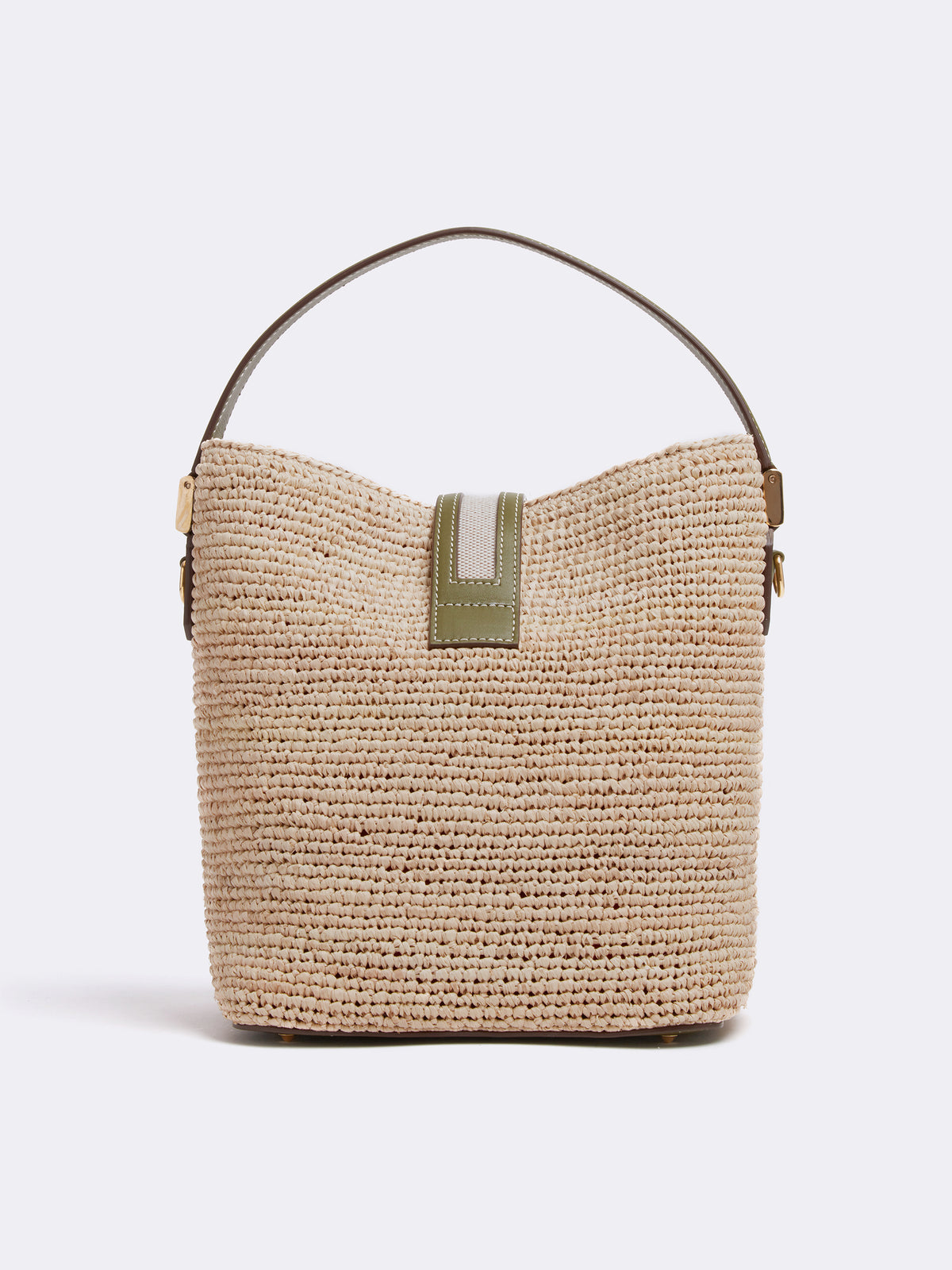 Mark Cross Murphy Raffia & Leather Bucket Bag Tumbled Grain Avocado / Birdseye / Natural Raffia Back