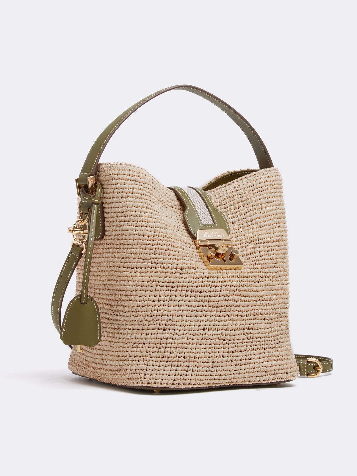 Mark Cross Murphy Raffia & Leather Bucket Bag Tumbled Grain Avocado / Birdseye / Natural Raffia Side
