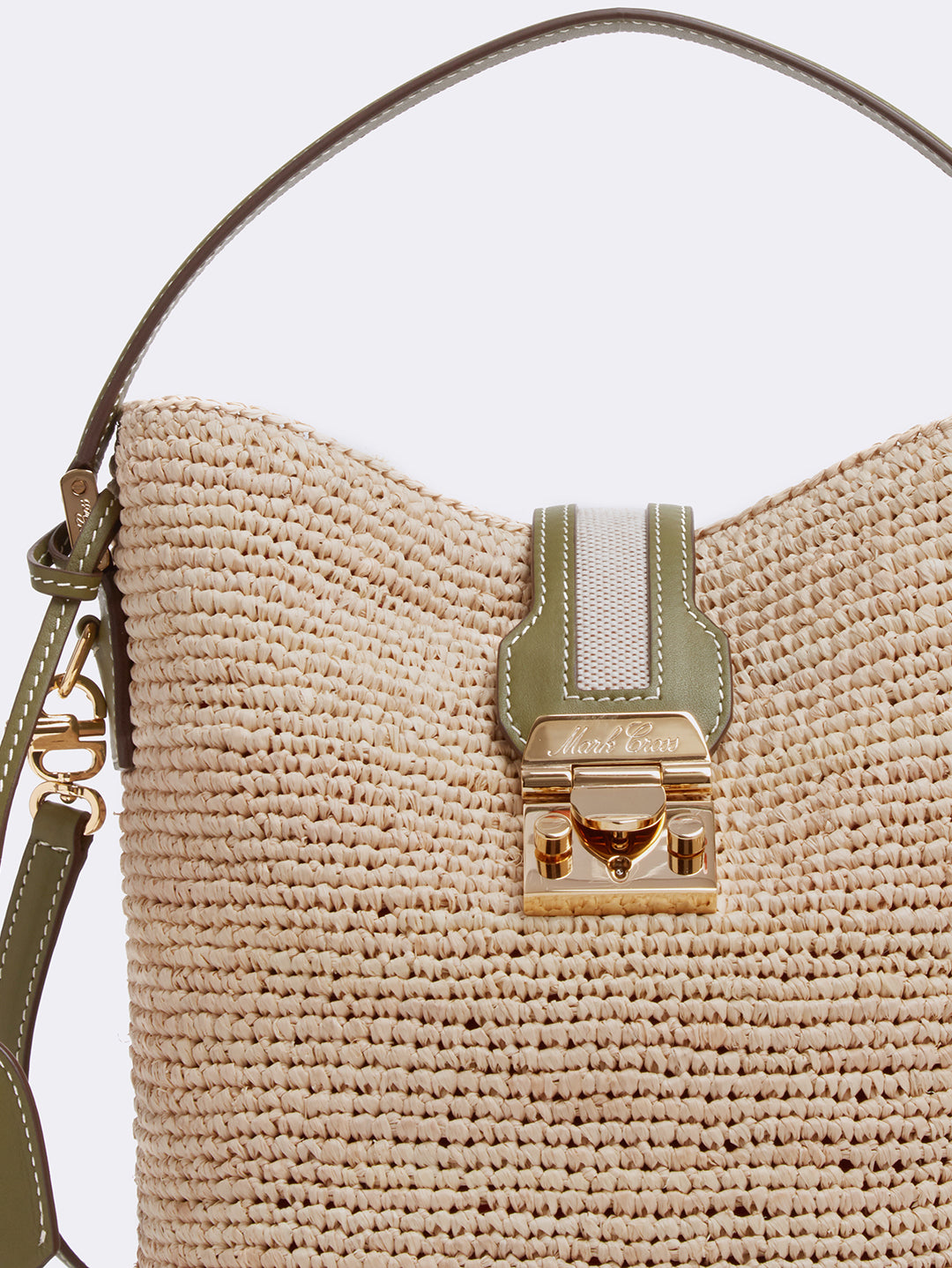 Mark Cross Murphy Raffia & Leather Bucket Bag Tumbled Grain Avocado / Birdseye / Natural Raffia Detail