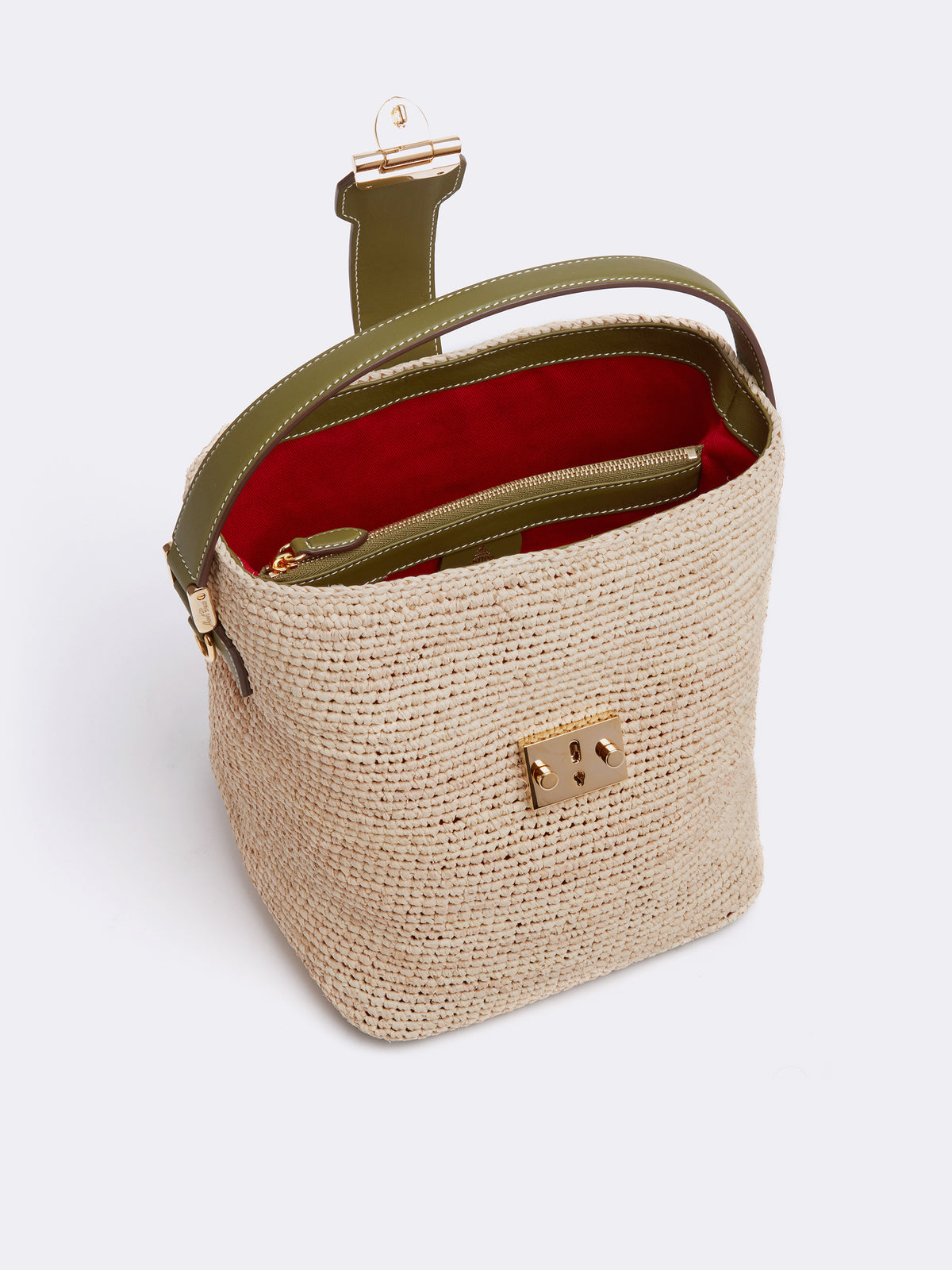 Mark Cross Murphy Raffia & Leather Bucket Bag Tumbled Grain Avocado / Birdseye / Natural Raffia Interior