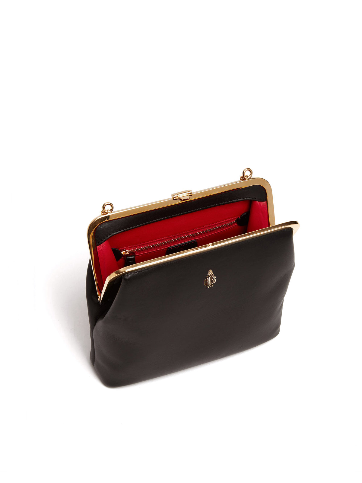 Mark Cross Susanna Leather Frame Pouch Bag Nappa Black Interior
