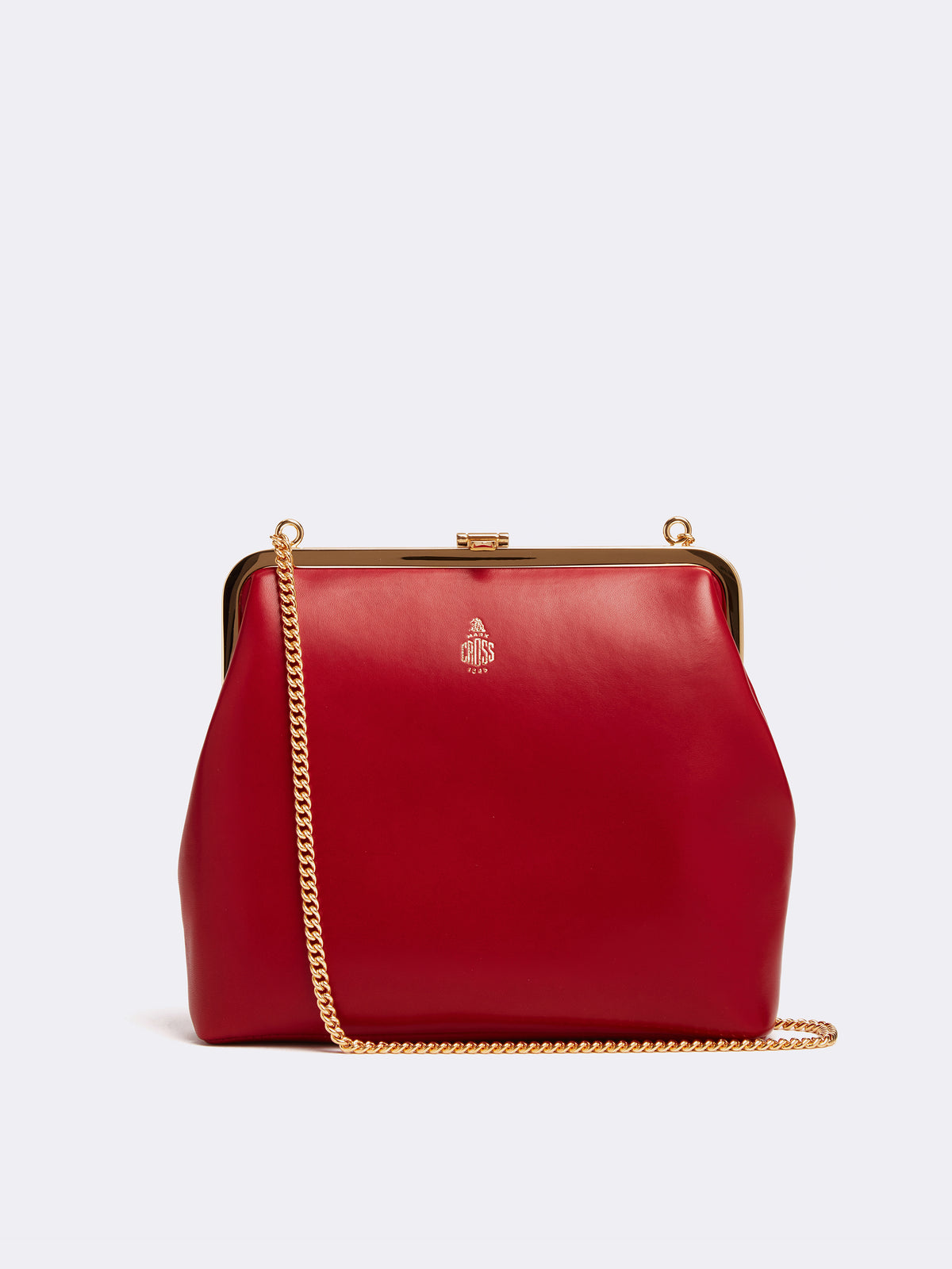 Mark Cross Susanna Leather Frame Pouch Bag Nappa Claret Front