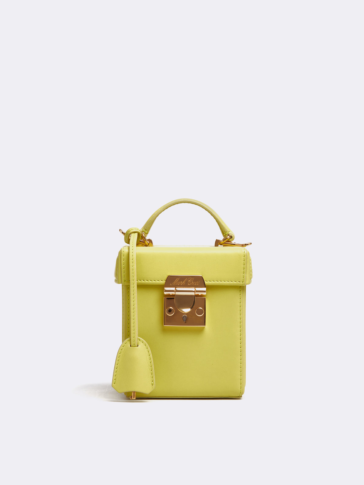 Mark Cross Grace Cube Leather Box Bag Soft Calf Citron Front