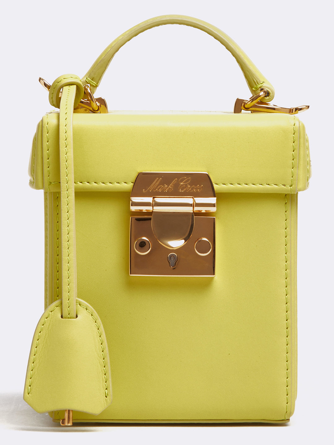Mark Cross Grace Cube Leather Box Bag Soft Calf Citron Detail