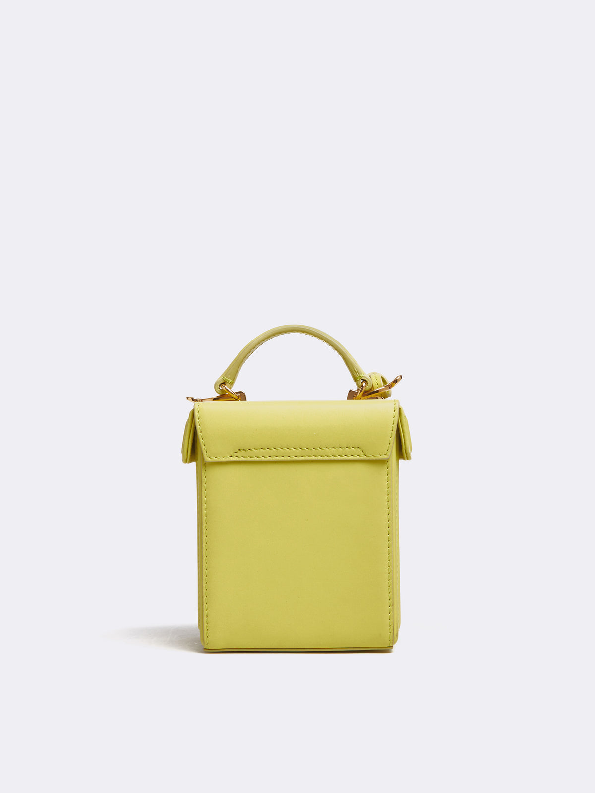 Mark Cross Grace Cube Leather Box Bag Soft Calf Citron Back