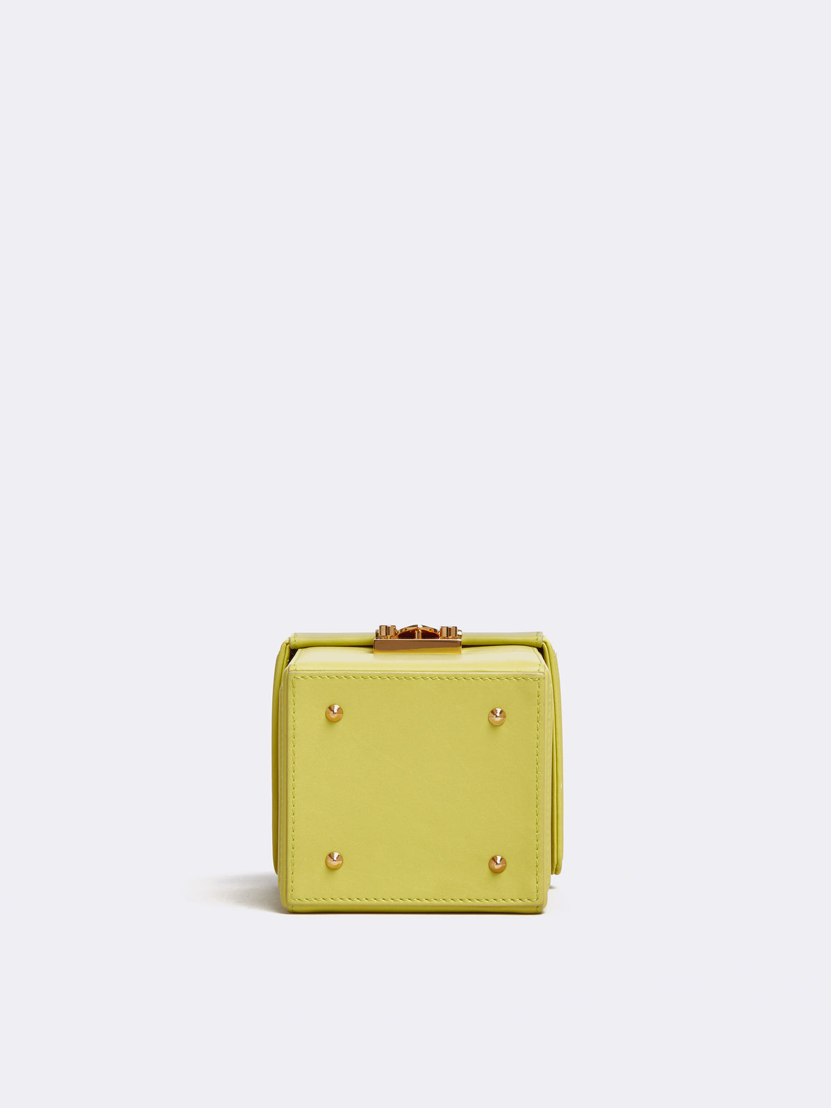 Mark Cross Grace Cube Leather Box Bag Soft Calf Citron Side