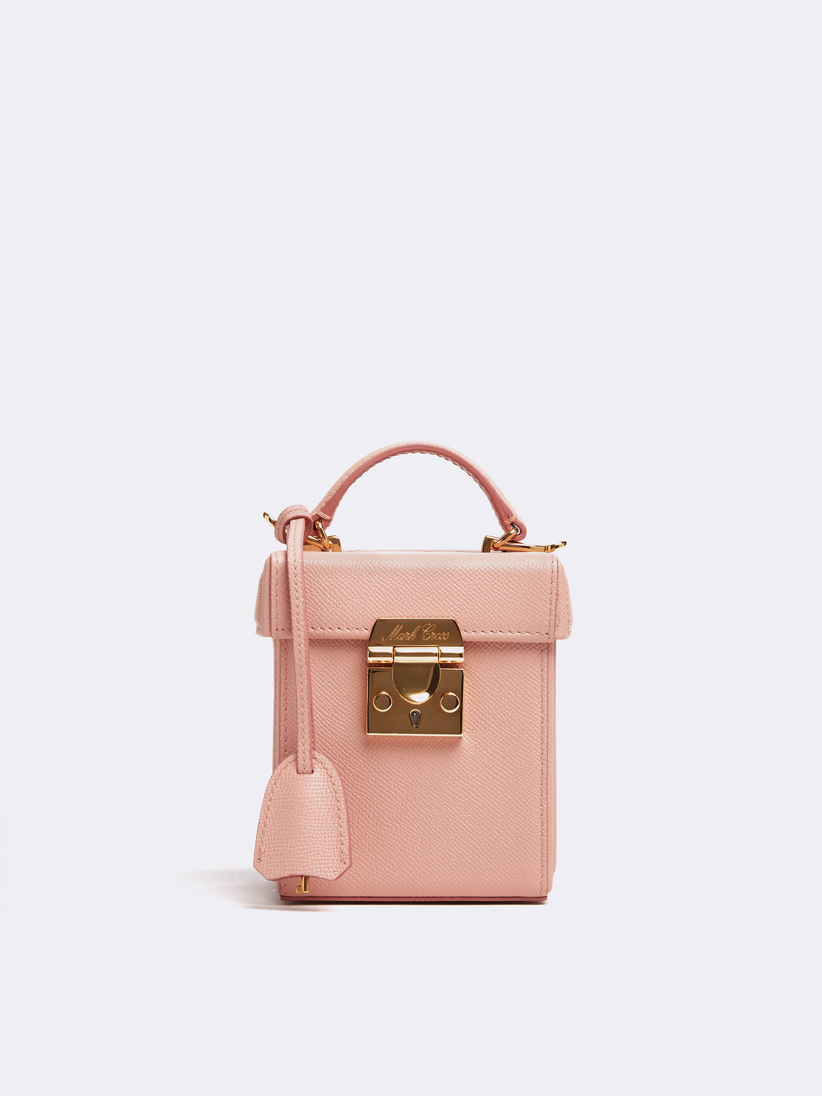 Mark Cross Grace Cube Leather Box Bag Soft Saffiano Blush Front