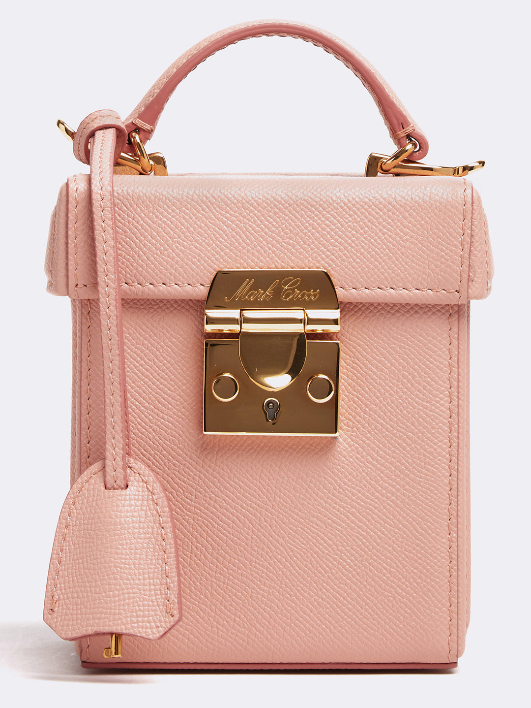 Mark Cross Grace Cube Leather Box Bag Soft Saffiano Blush Detail