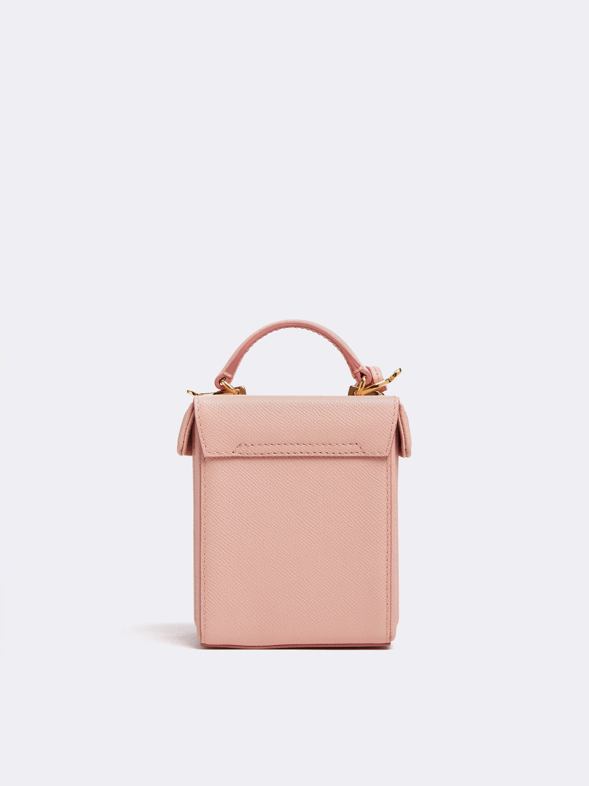 Mark Cross Grace Cube Leather Box Bag Soft Saffiano Blush Back