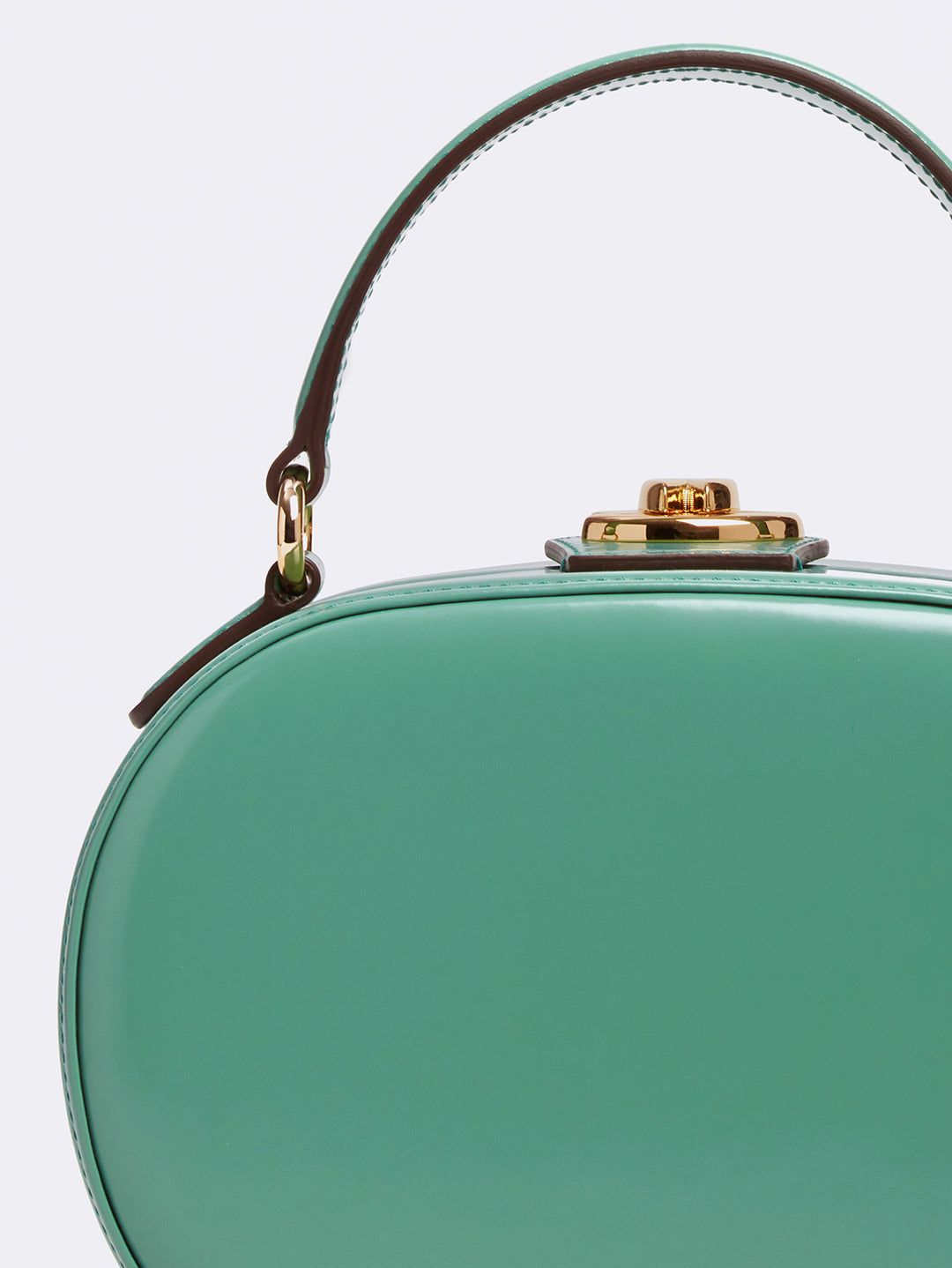 Mark Cross Gianna Leather Oval Box Bag Brush Off Celadon Detail