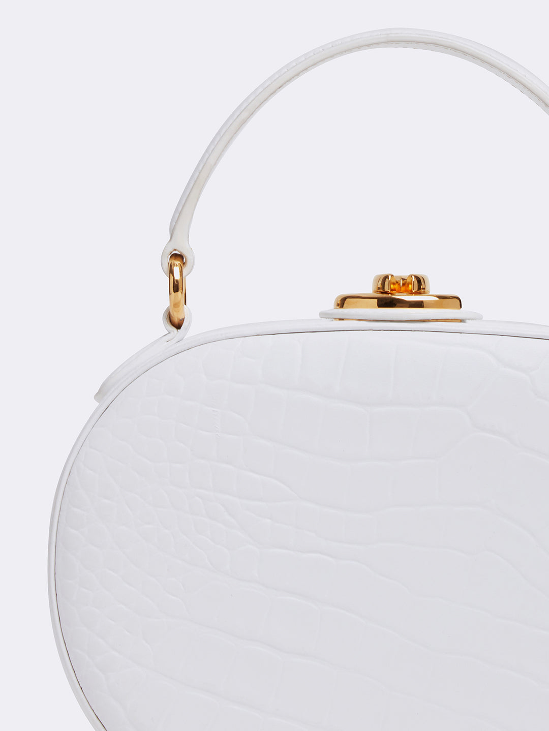 Mark Cross Gianna Leather Oval Box Bag Crocodile Stamped White Detail