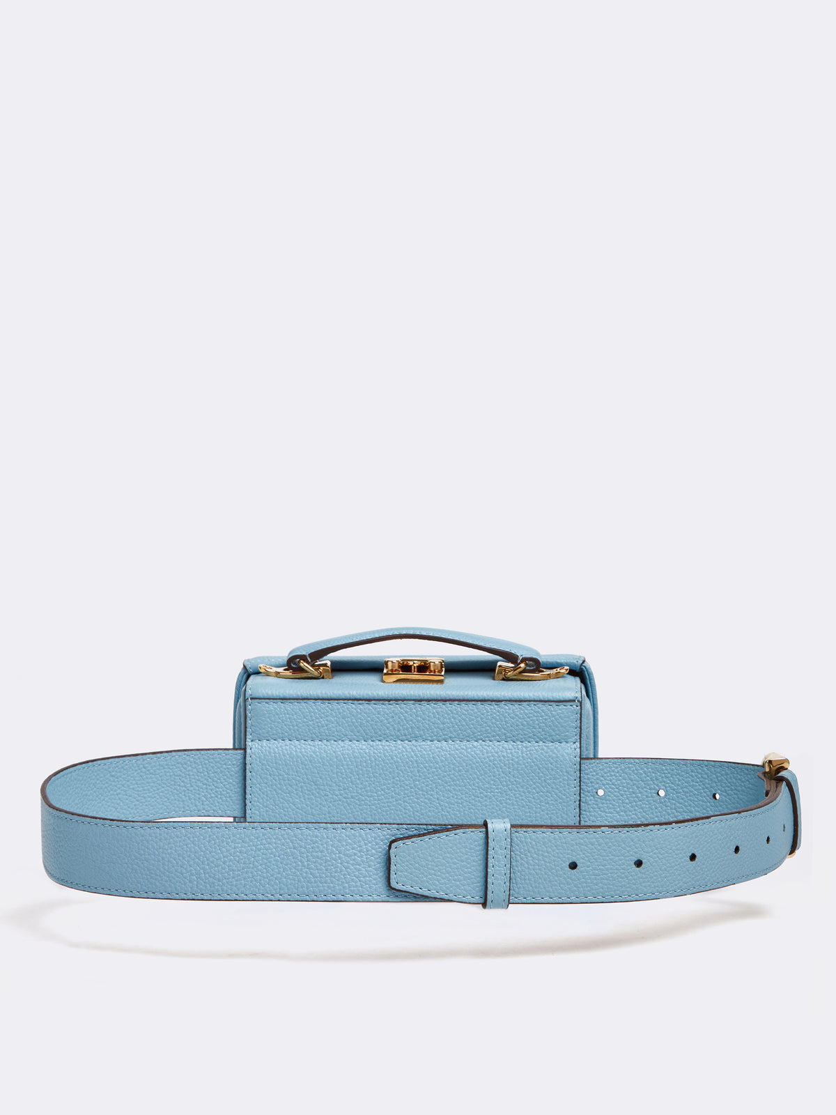Mark Cross Grace Leather Belt Bag Tumbled Grain Powder Blue Back