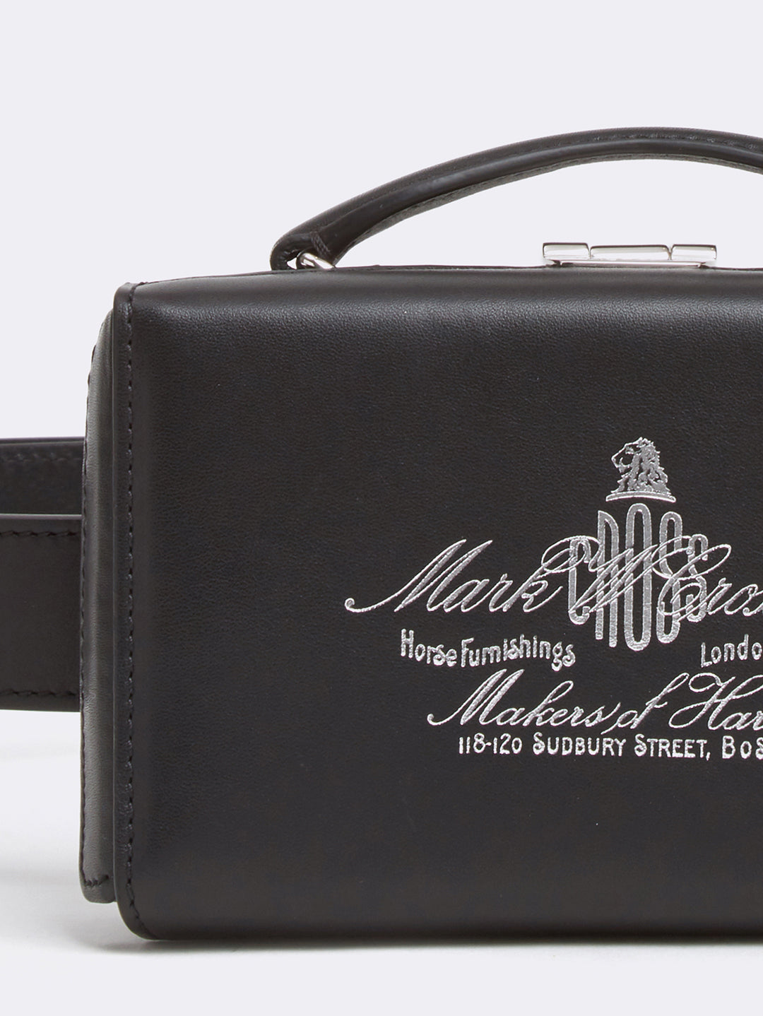 Mark Cross Grace Historical Logo Leather Belt Bag Soft Calf Black Detail