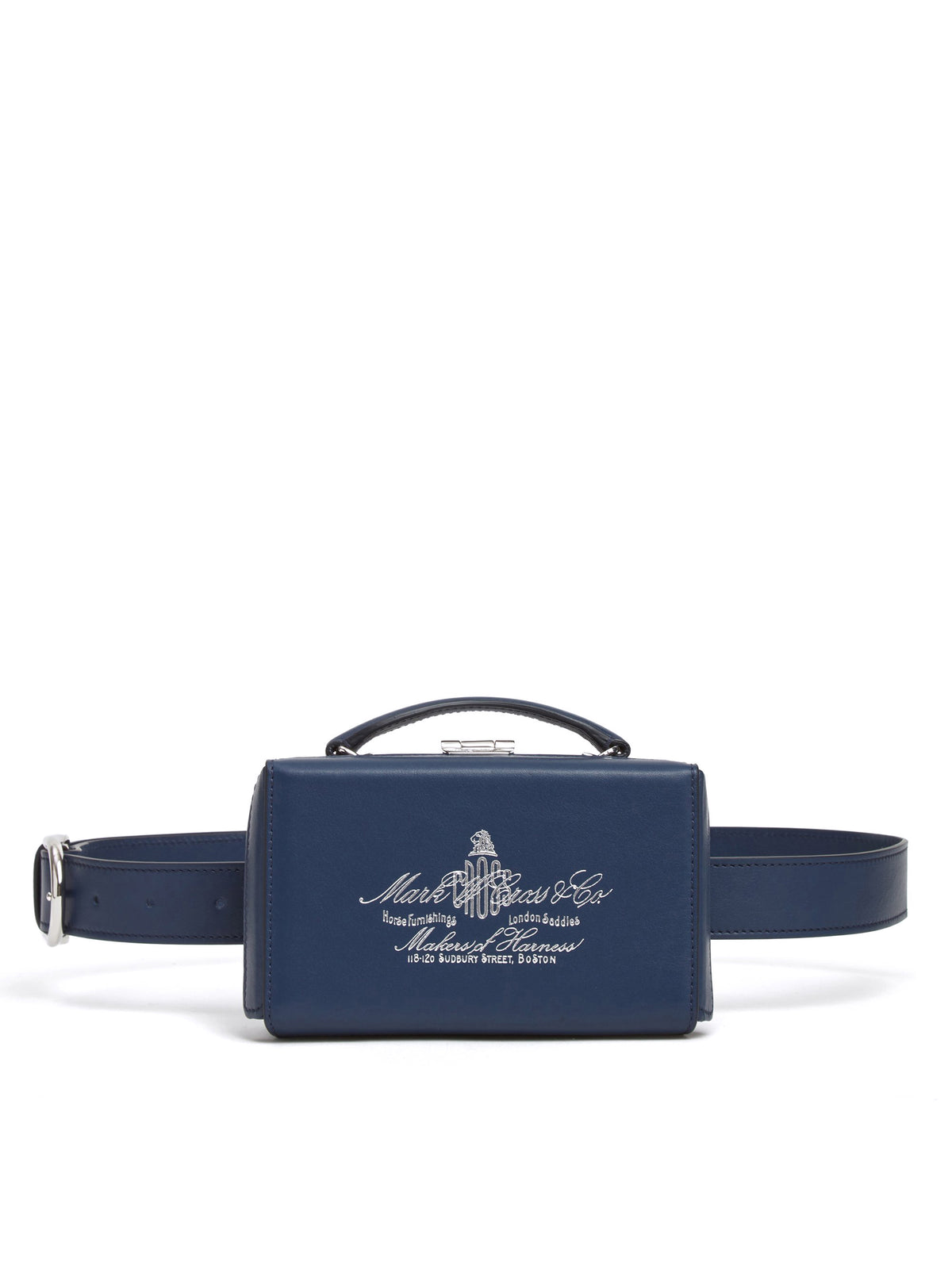 Mark Cross Grace Historical Logo Leather Belt Bag Soft Calf Navy Front