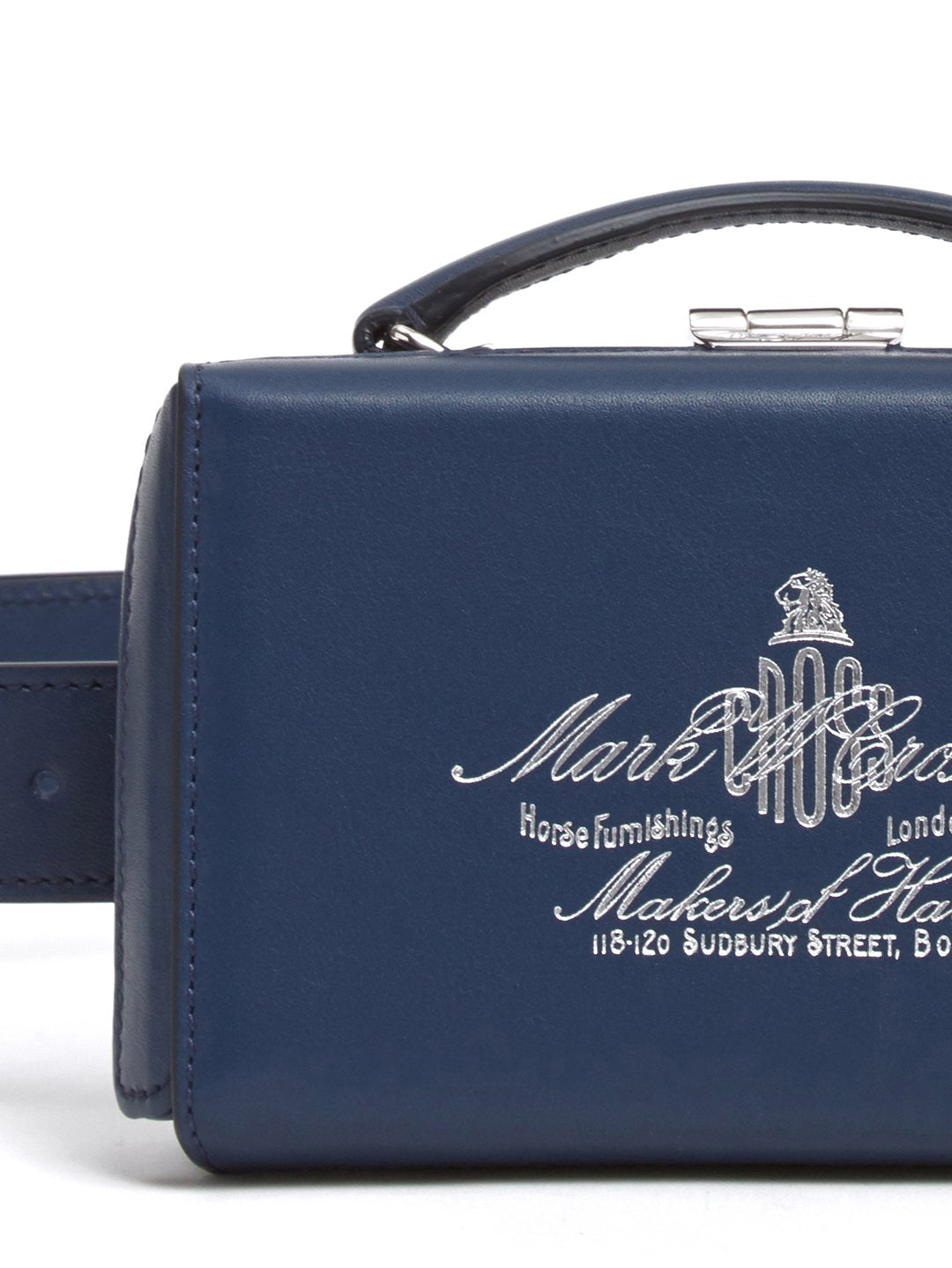 Mark Cross Grace Historical Logo Leather Belt Bag Soft Calf Navy Detail