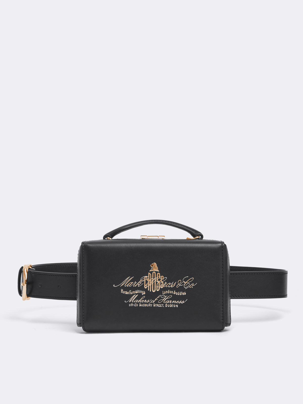 Mark Cross Grace Historical Logo Leather Belt Bag Soft Calf Black Front