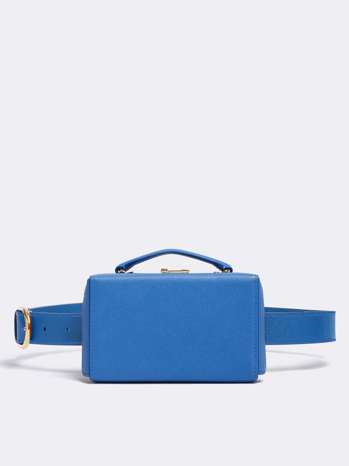 Mark Cross Grace Leather Belt Bag Soft Saffiano Regatta Blue Front