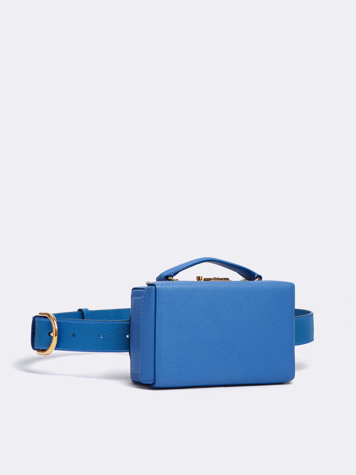 Mark Cross Grace Leather Belt Bag Soft Saffiano Regatta Blue Side