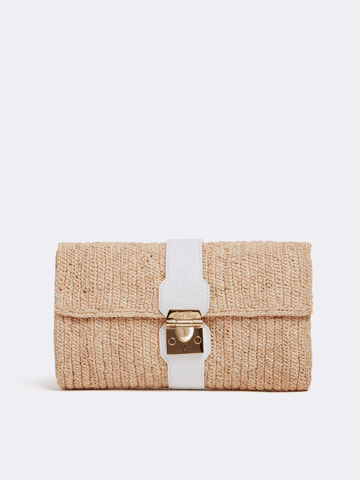 Mark Cross Sylvette Raffia & Leather Clutch Crocodile Stamped Soft Calf White / Natural Raffia Front