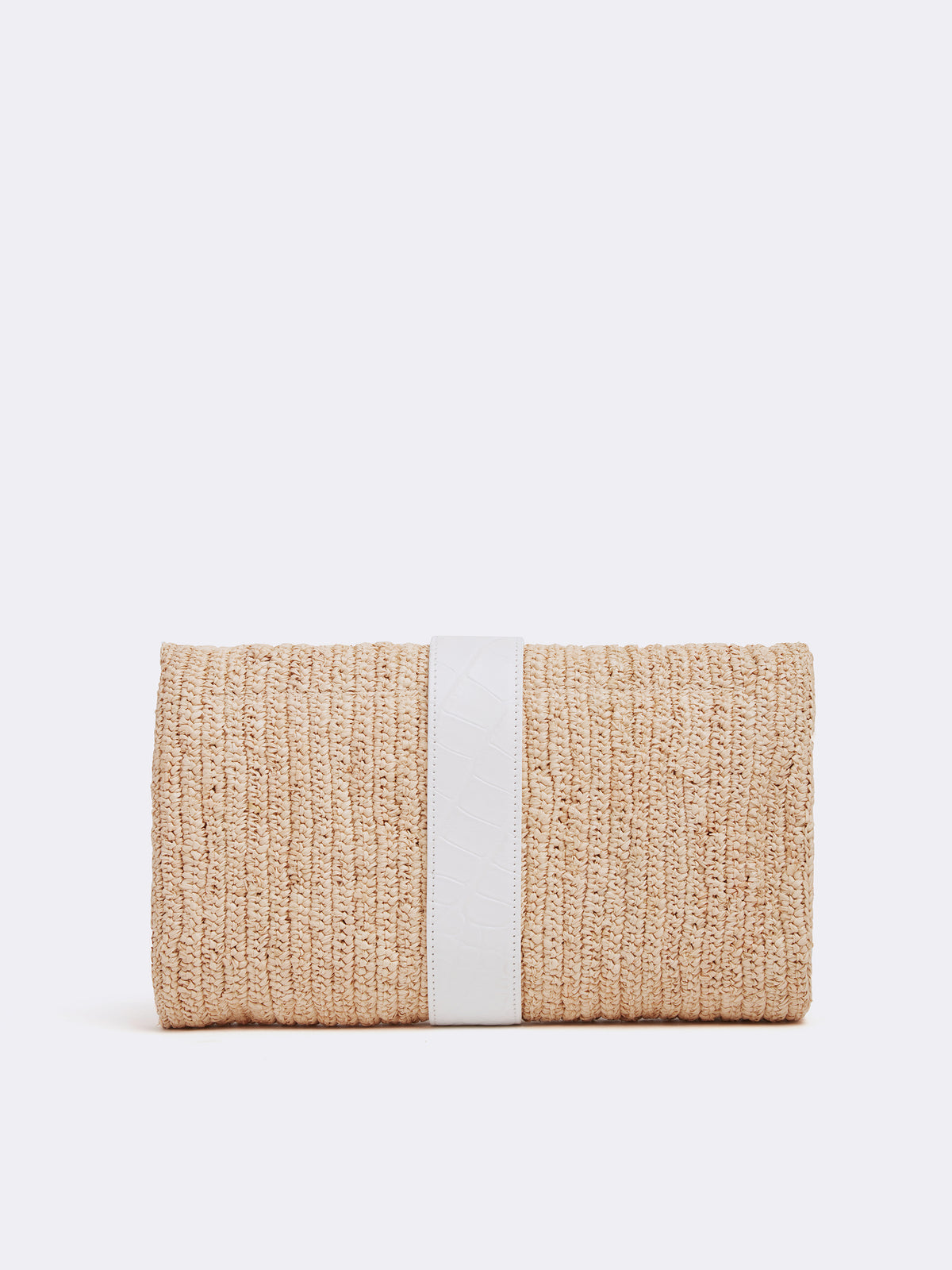 Mark Cross Sylvette Raffia & Leather Clutch Crocodile Stamped Soft Calf White / Natural Raffia Back