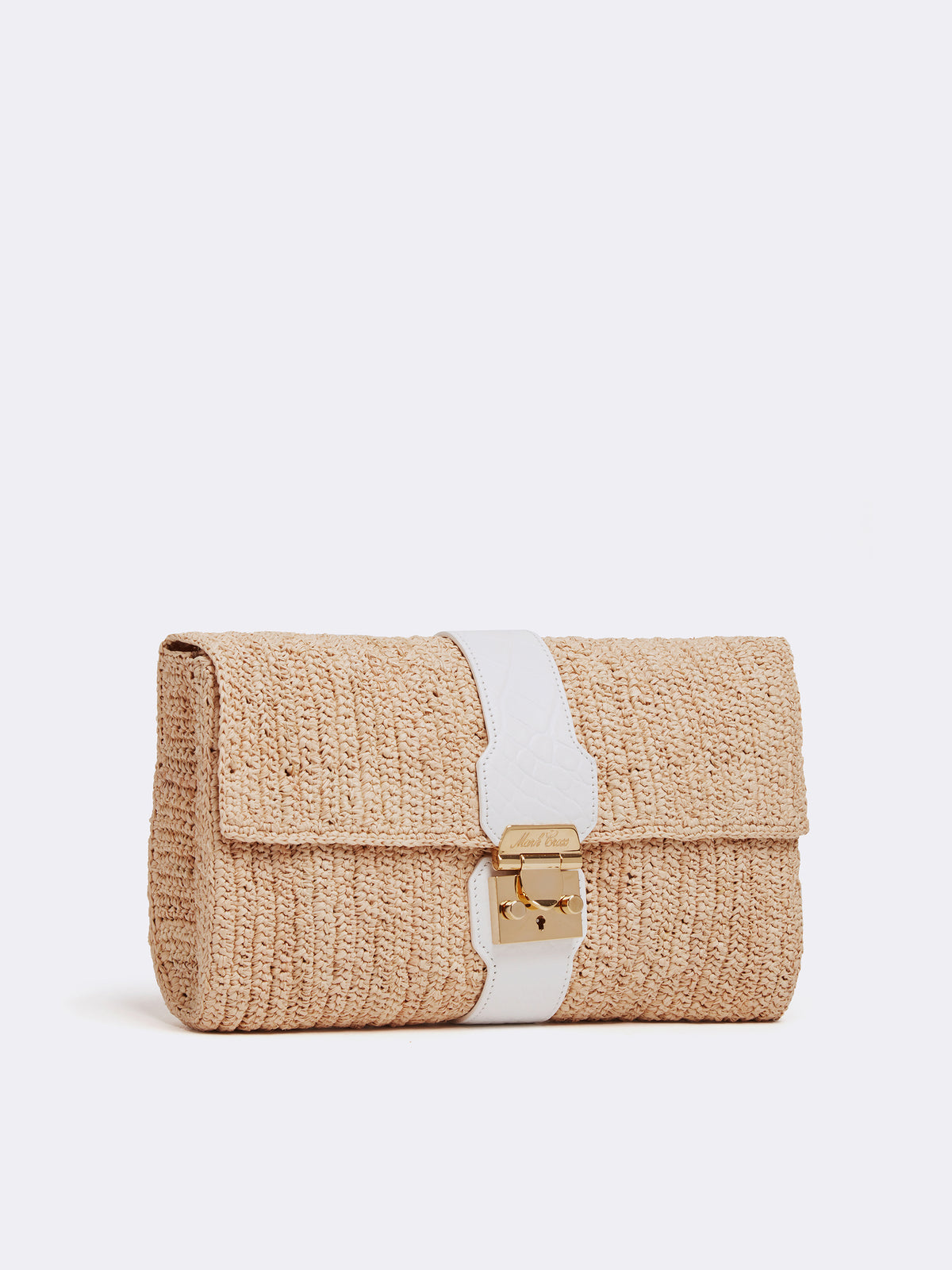 Mark Cross Sylvette Raffia & Leather Clutch Crocodile Stamped Soft Calf White / Natural Raffia Side