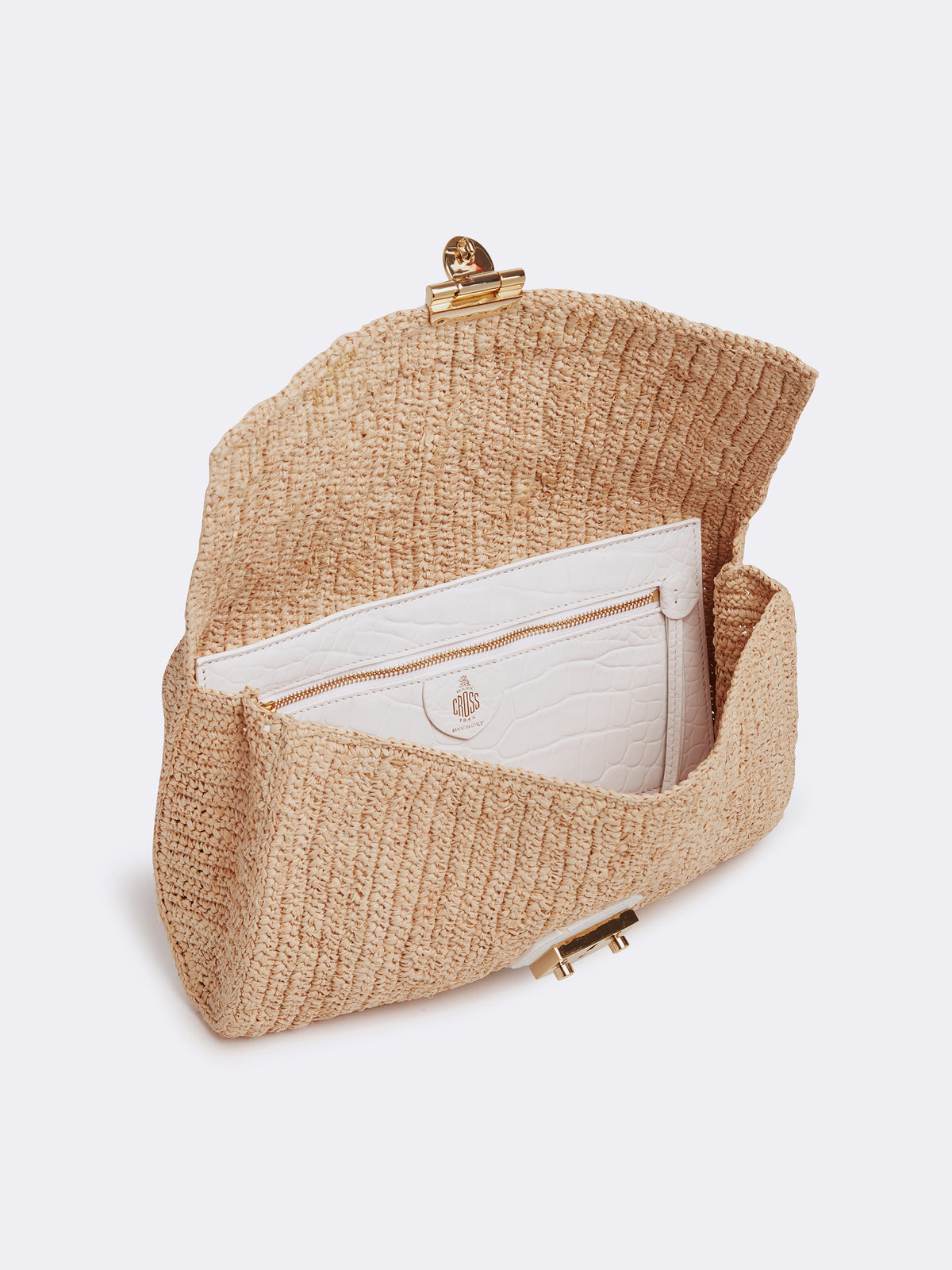 Mark Cross Sylvette Raffia & Leather Clutch Crocodile Stamped Soft Calf White / Natural Raffia Interior