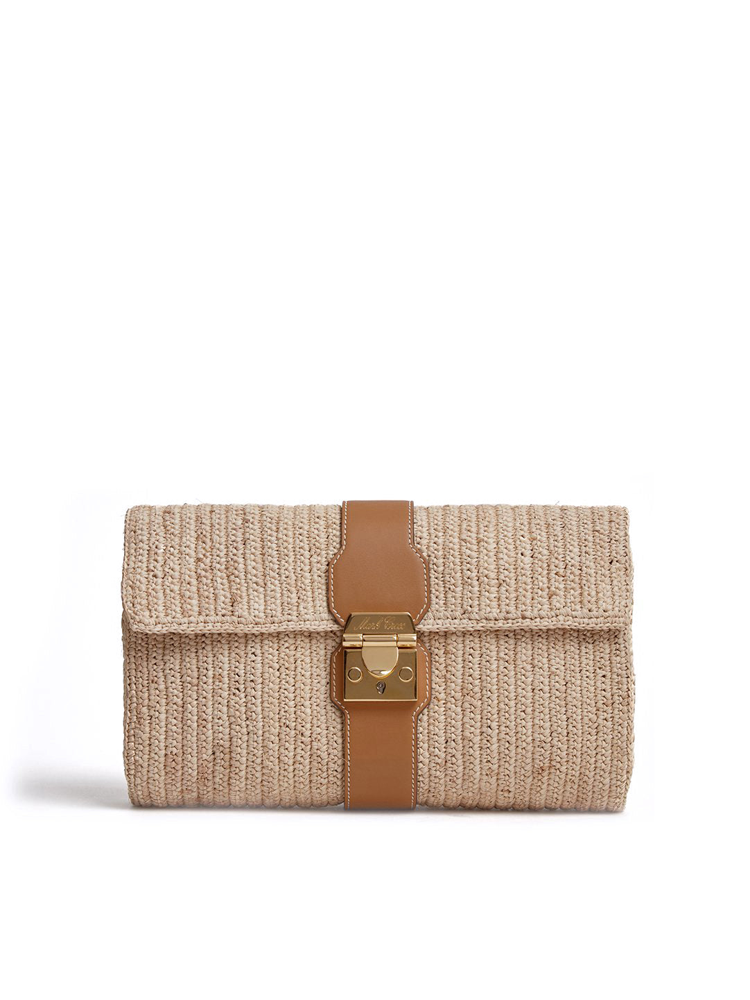 Mark Cross Sylvette Raffia & Leather Clutch Smooth Calf Luggage / Natural Raffia Front