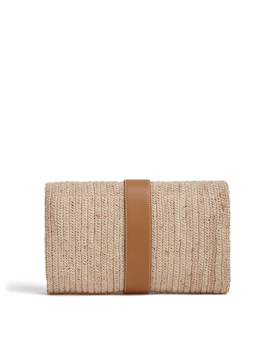 Mark Cross Sylvette Raffia & Leather Clutch Smooth Calf Luggage / Natural Raffia Back