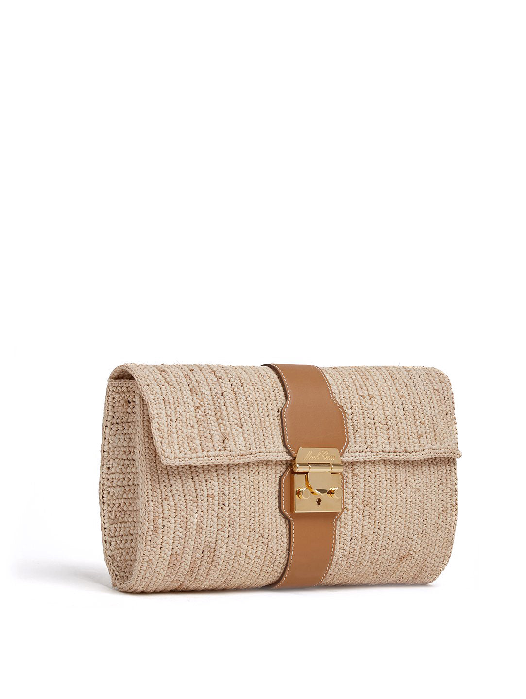 Mark Cross Sylvette Raffia & Leather Clutch Smooth Calf Luggage / Natural Raffia Side