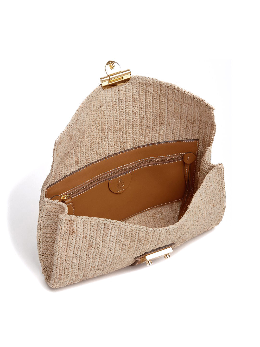 Mark Cross Sylvette Raffia & Leather Clutch Smooth Calf Luggage / Natural Raffia Interior