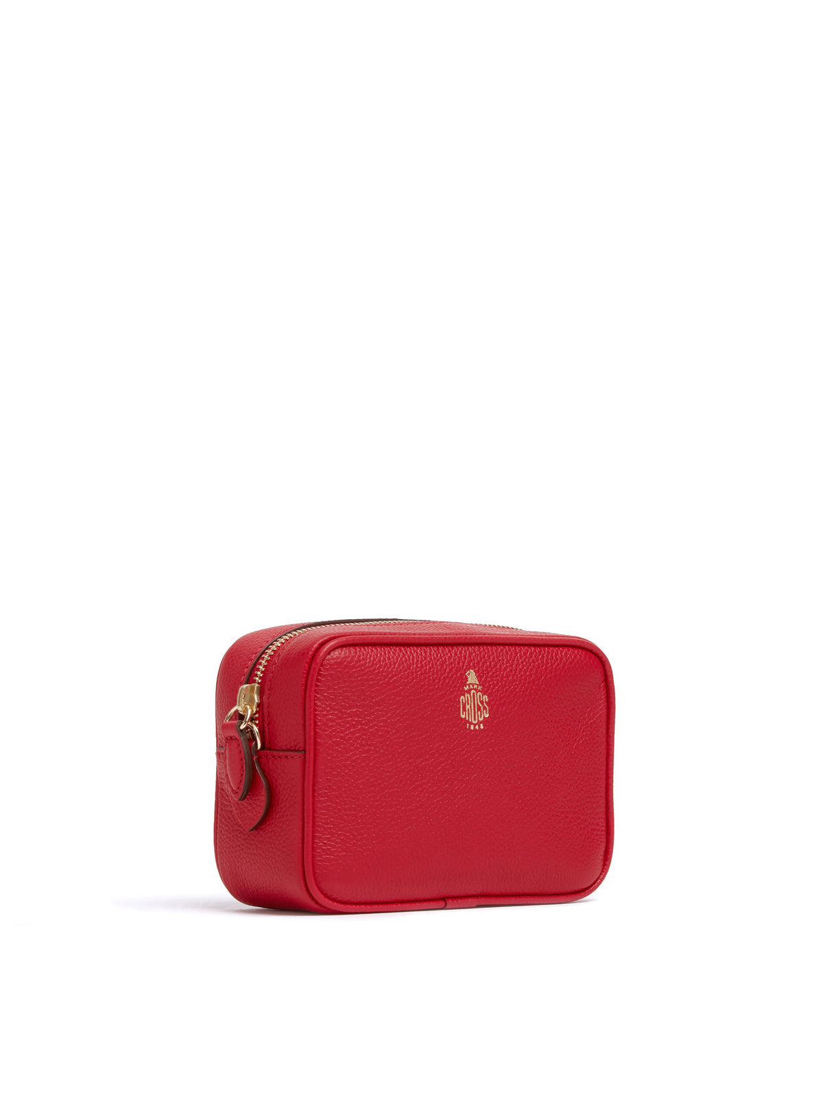 Mark Cross Leather Zip Pouch Soft Calf Mc Red Side