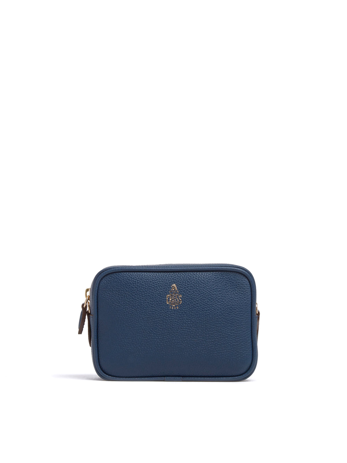 Mark Cross Leather Zip Pouch Soft Calf Navy Front
