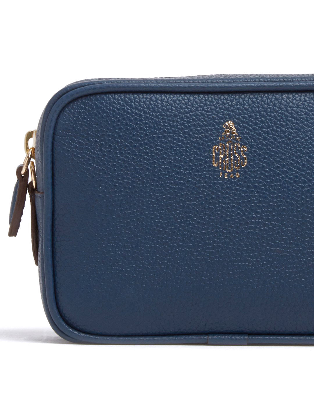 Mark Cross Leather Zip Pouch Soft Calf Navy Detail
