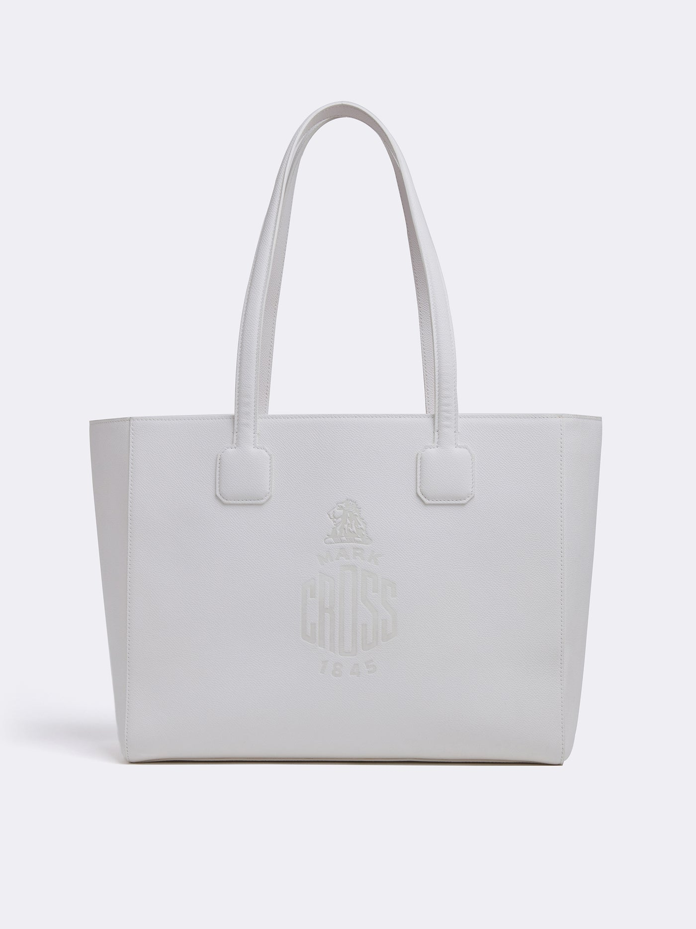 Mark Cross Cannes Leather Tote Bag Soft Saffiano White Front