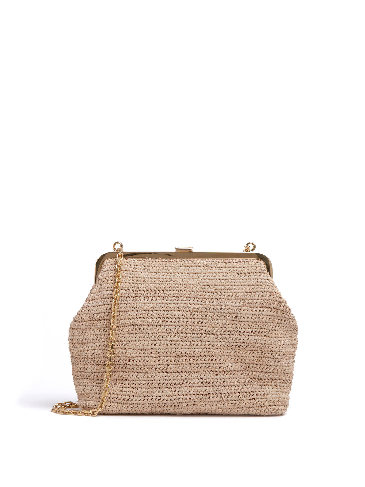 Mark Cross Susanna Raffia Pouch Bag Soft Calf Luggage / Natural Raffia Back
