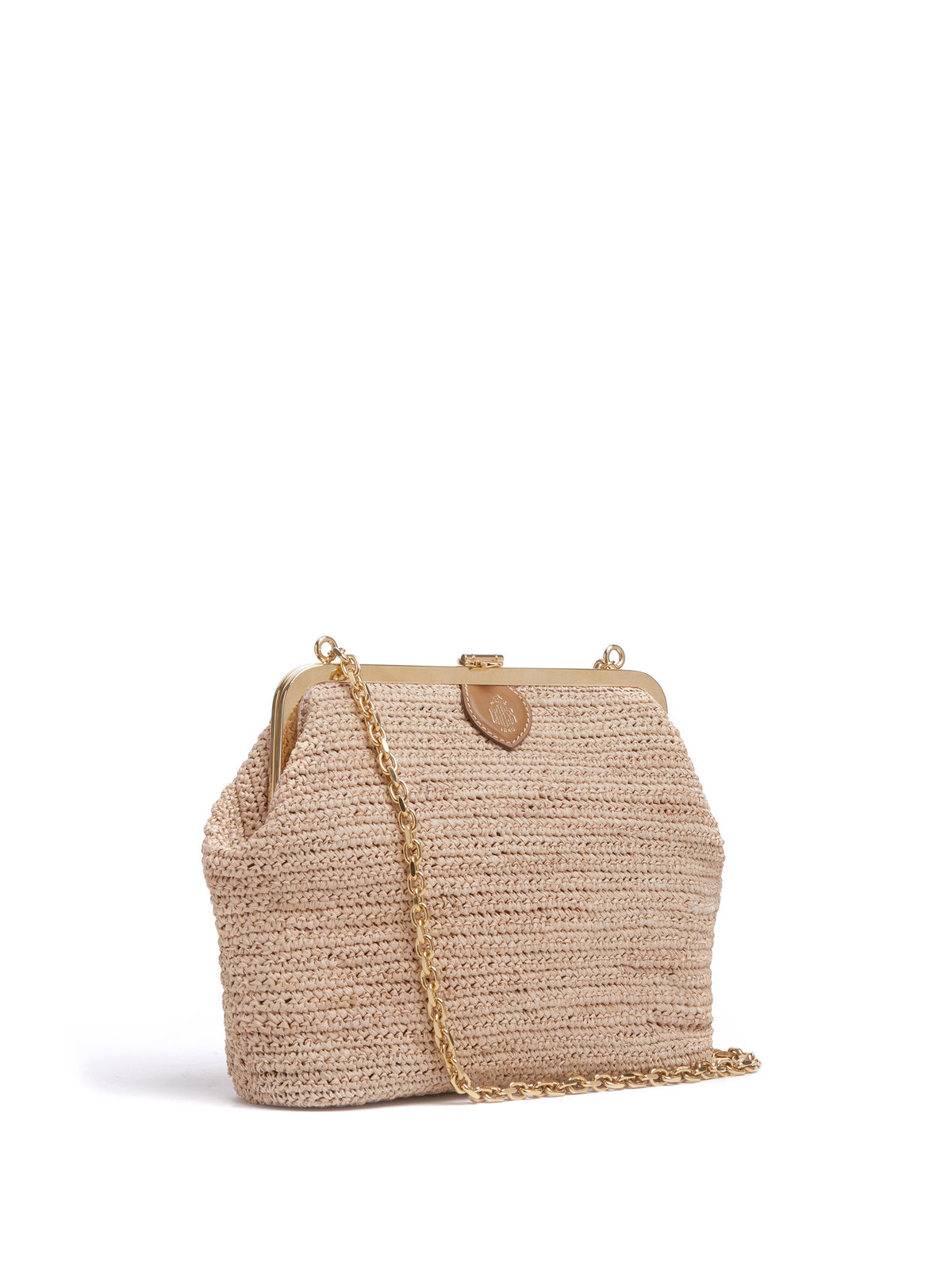 Mark Cross Susanna Raffia Pouch Bag Soft Calf Luggage / Natural Raffia Side
