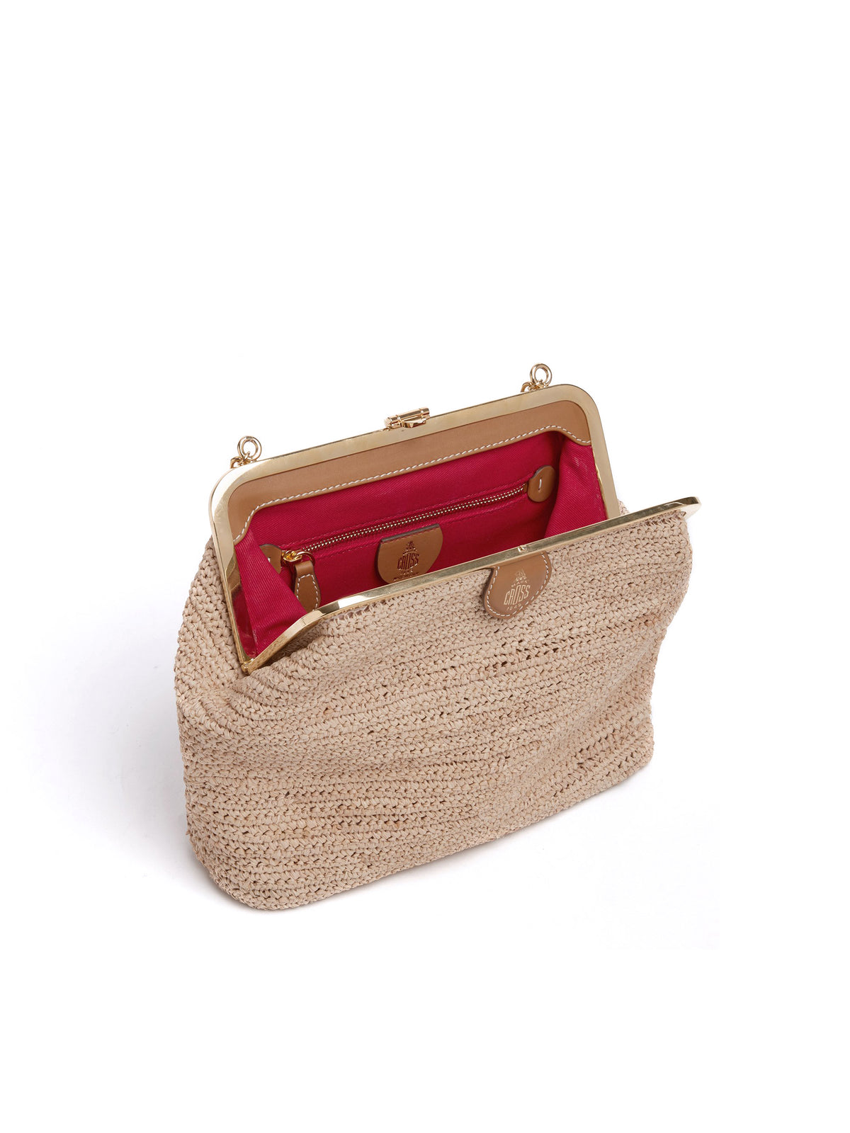 Mark Cross Susanna Raffia Pouch Bag Soft Calf Luggage / Natural Raffia Interior