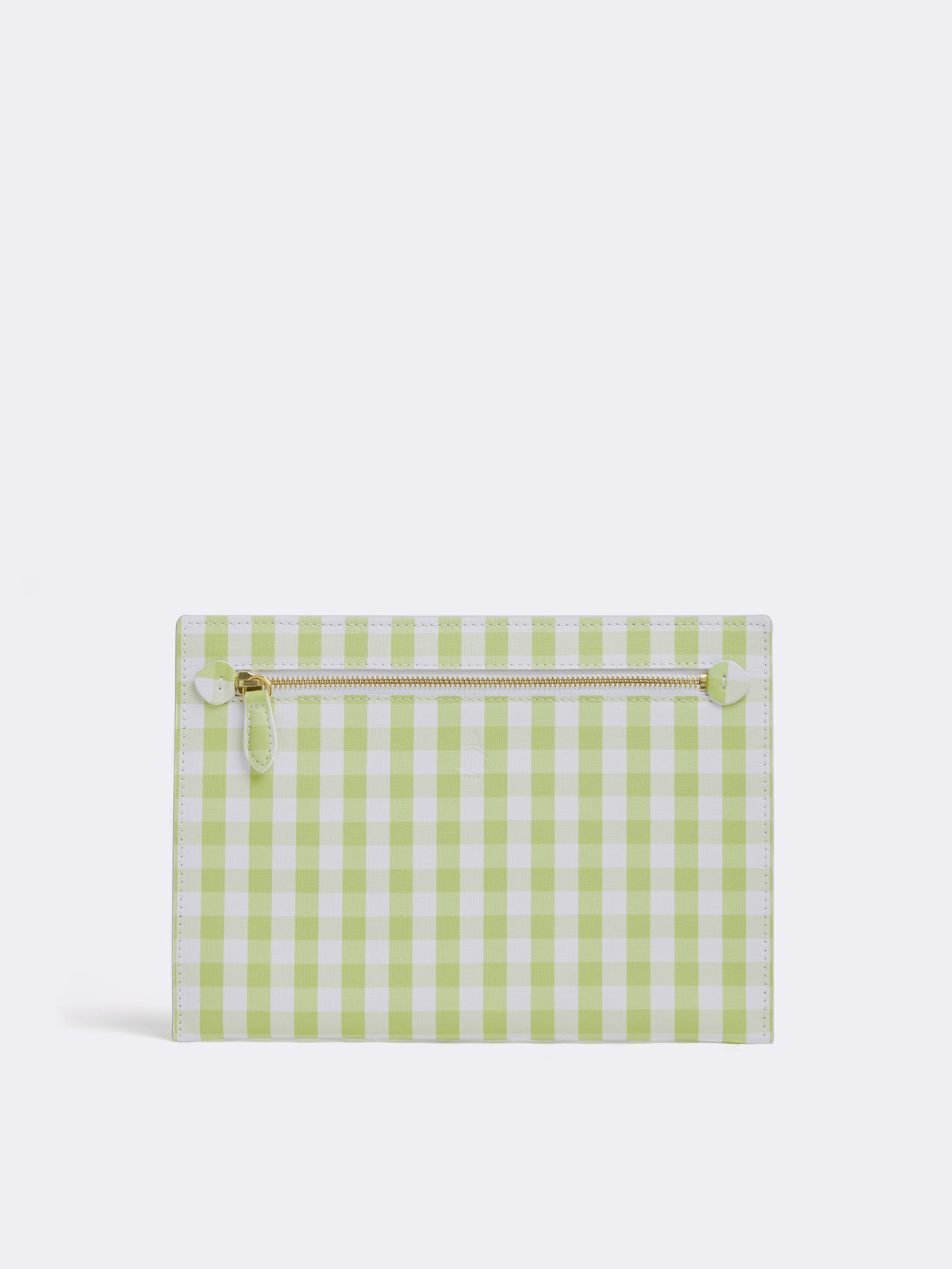 Mark Cross Donnelly Leather Pouch Mini Franzi Gingham Citron Front
