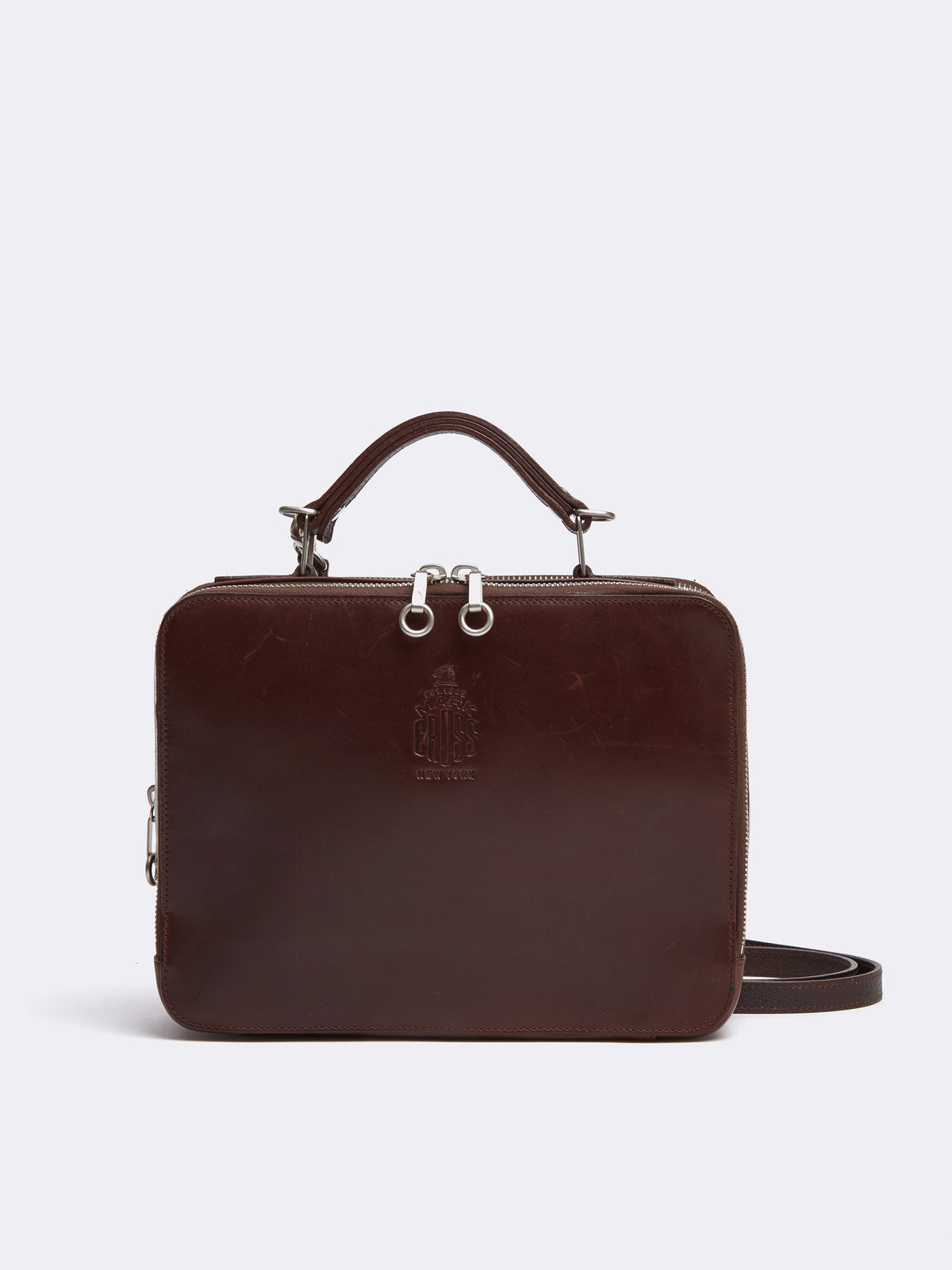 Mark Cross Archive Laura Leather Crossbody Bag Chocolate Front