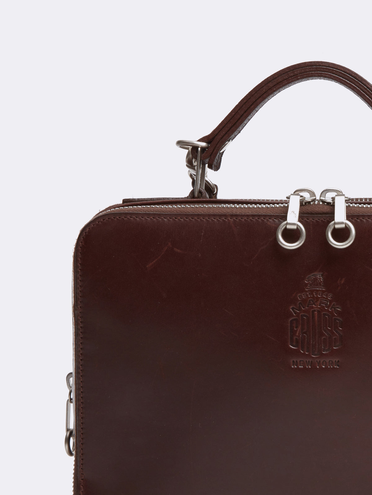 Mark Cross Archive Laura Leather Crossbody Bag Chocolate Detail