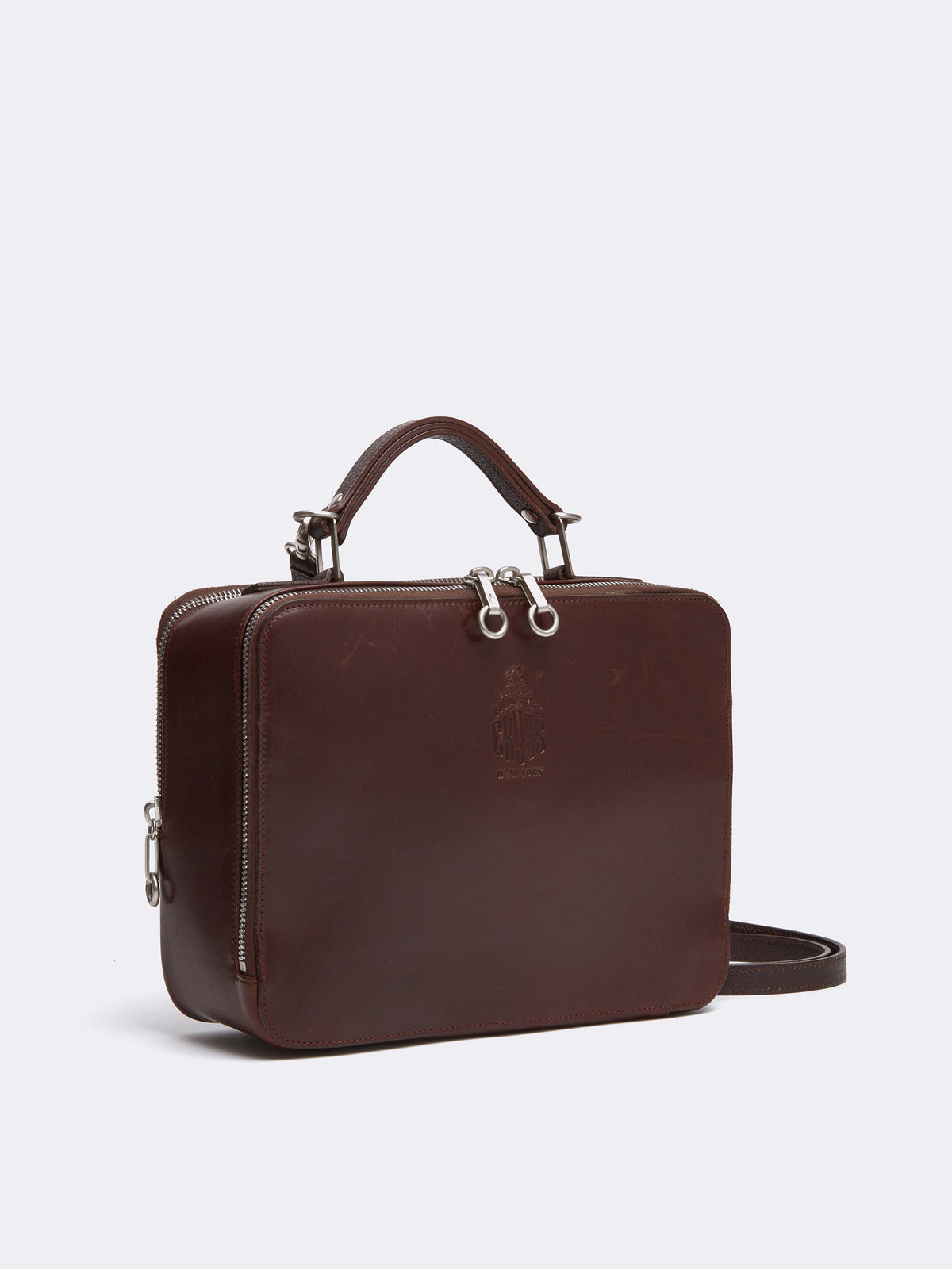 Mark Cross Archive Laura Leather Crossbody Bag Chocolate Side