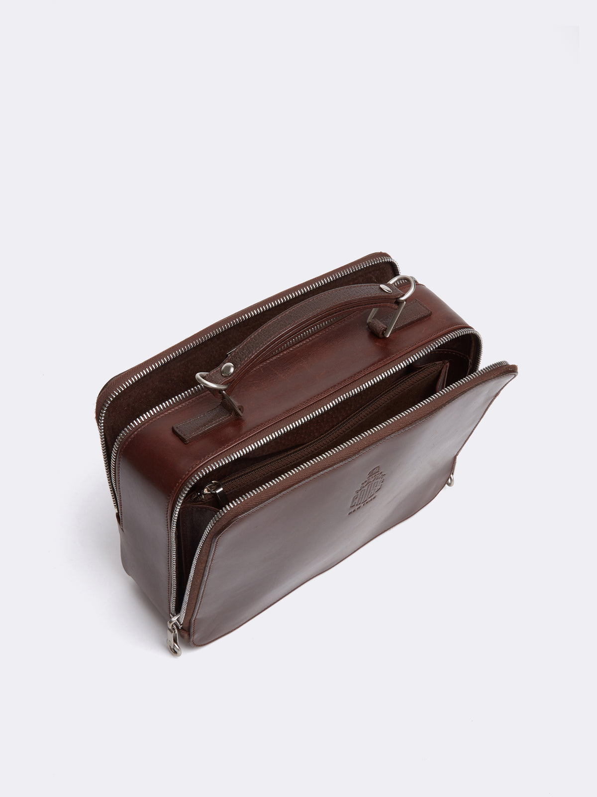 Mark Cross Archive Laura Leather Crossbody Bag Chocolate Interior