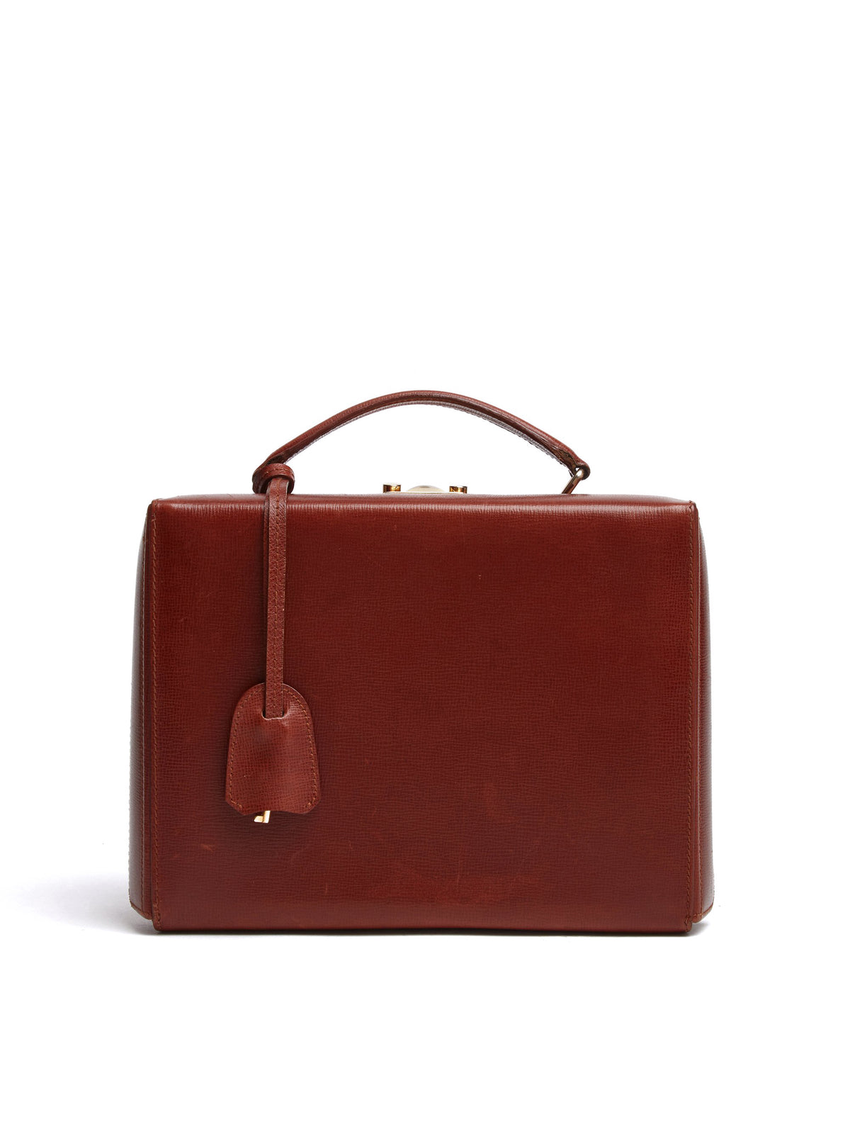 Mark Cross Vintage Grace Leather Box Bag Cognac Front