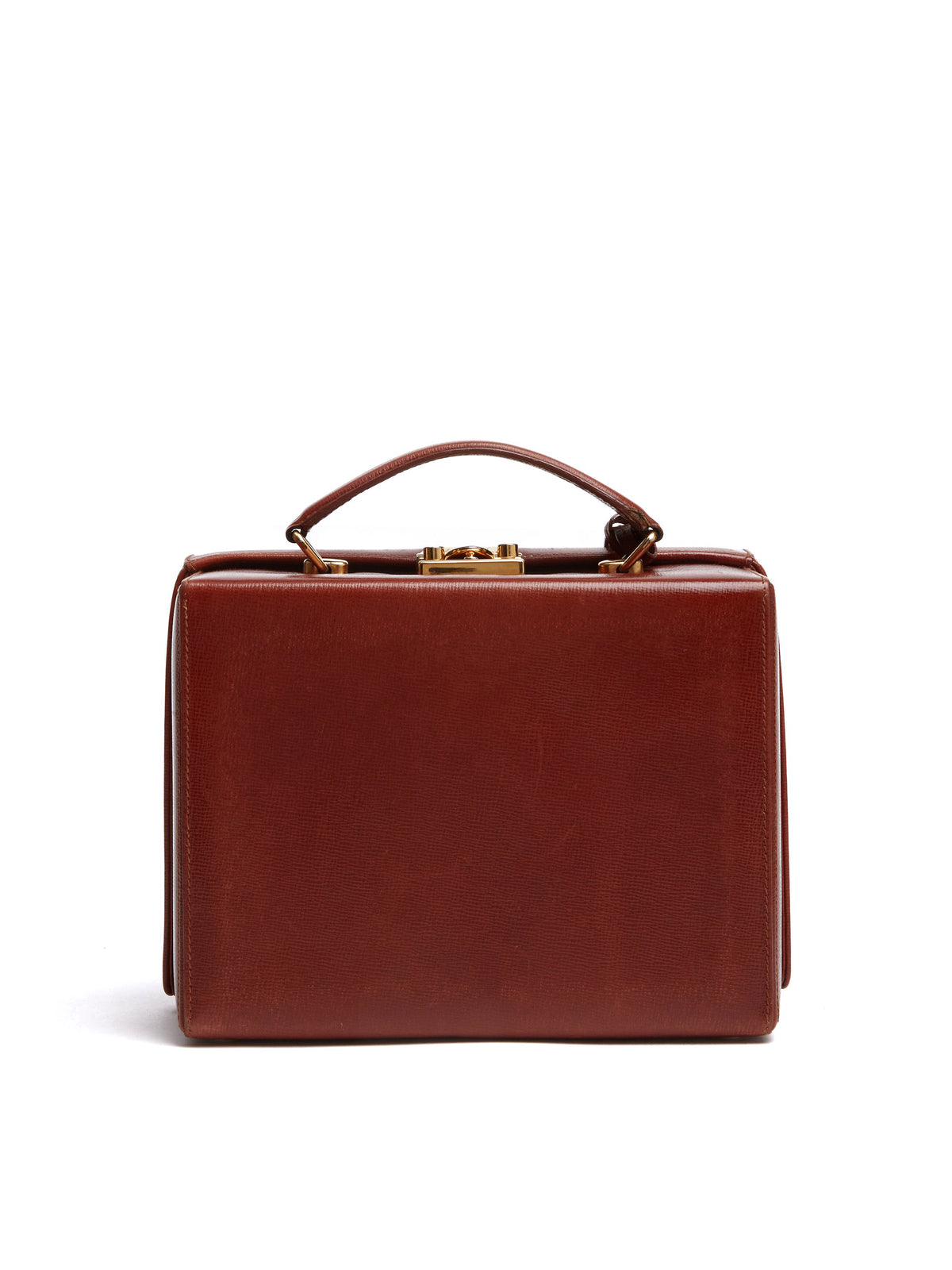 Mark Cross Vintage Grace Leather Box Bag Cognac Back