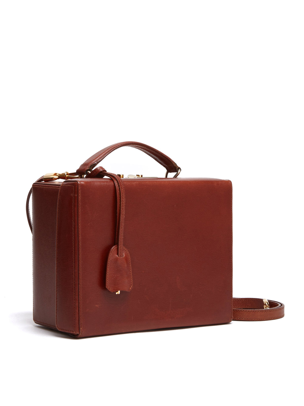 Mark Cross Vintage Grace Leather Box Bag Cognac Side