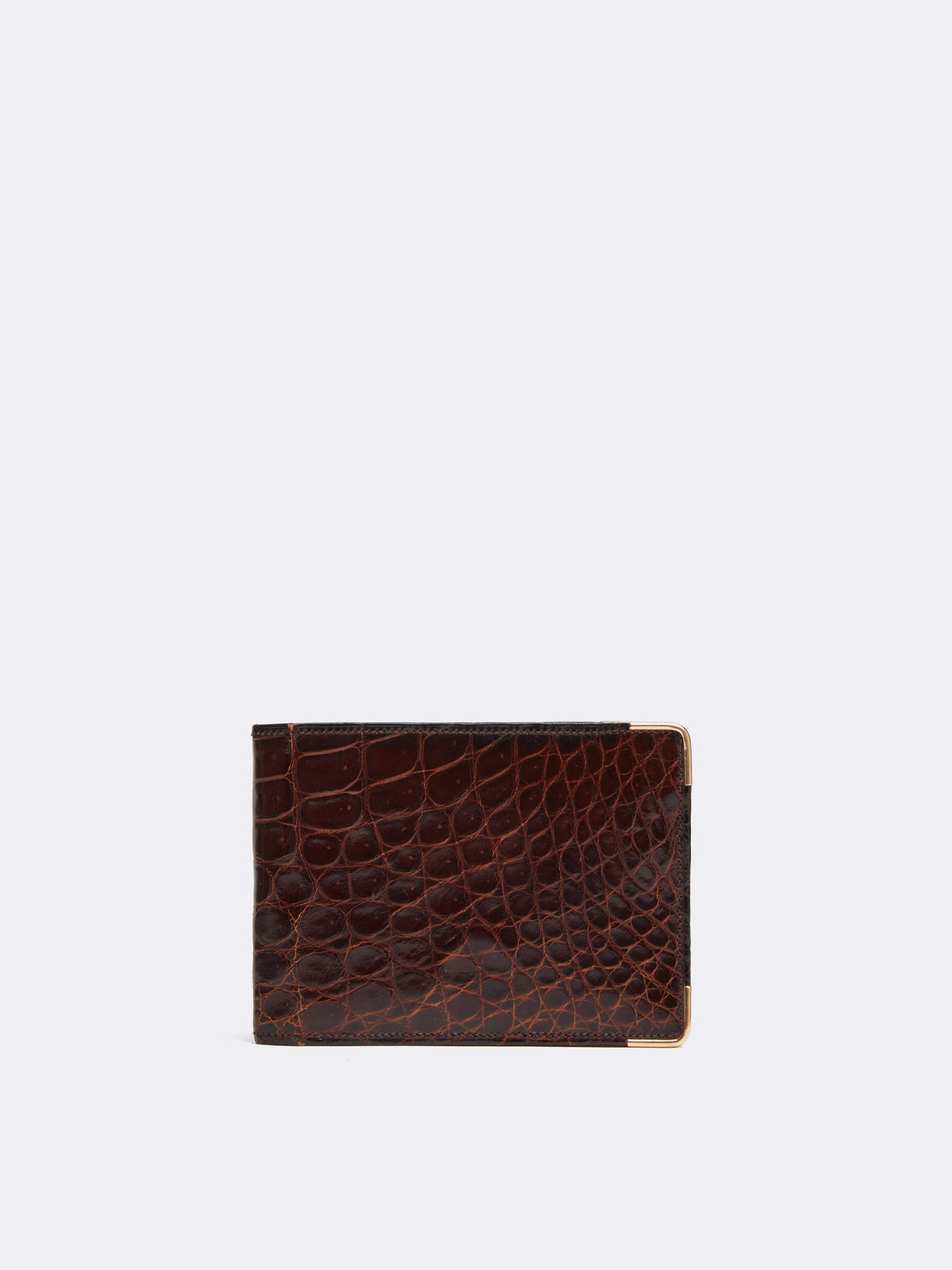 Mark Cross Archive Crocodile Bi-fold Wallet Chocolate Front
