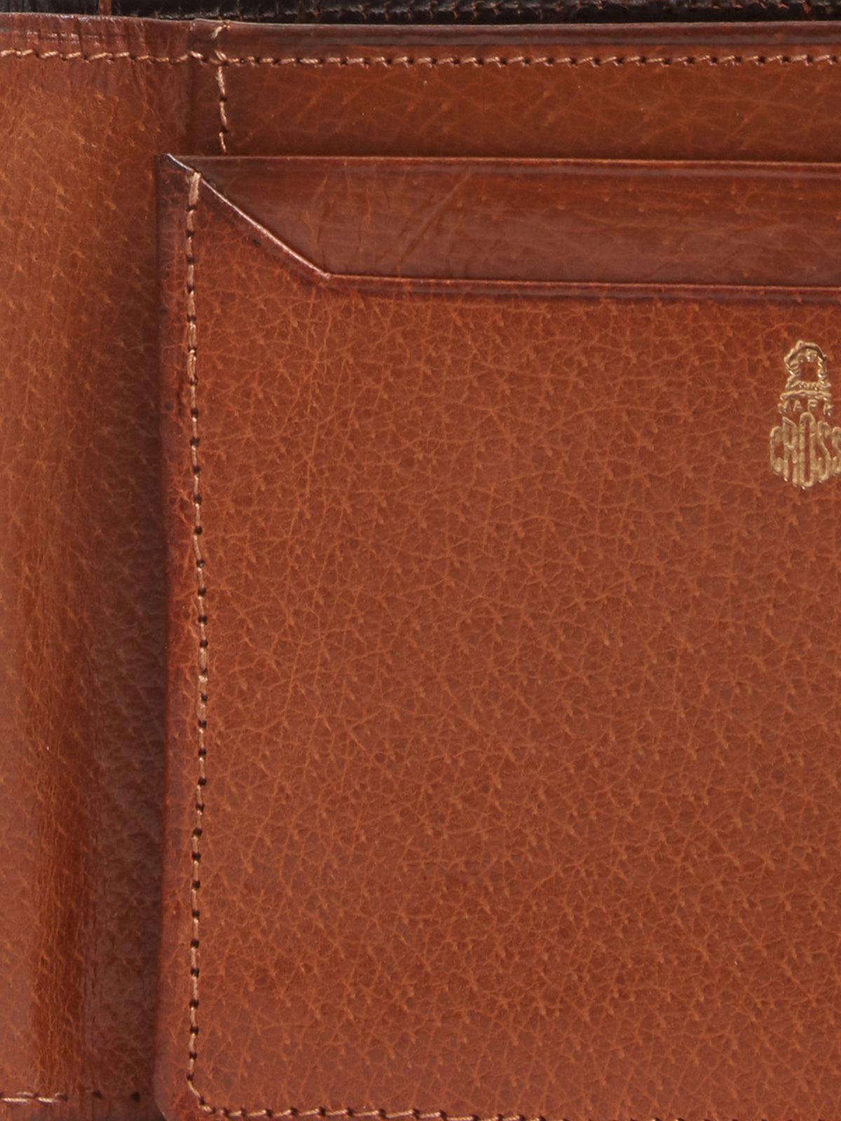 Mark Cross Archive Crocodile Bi-fold Wallet Chocolate Detail