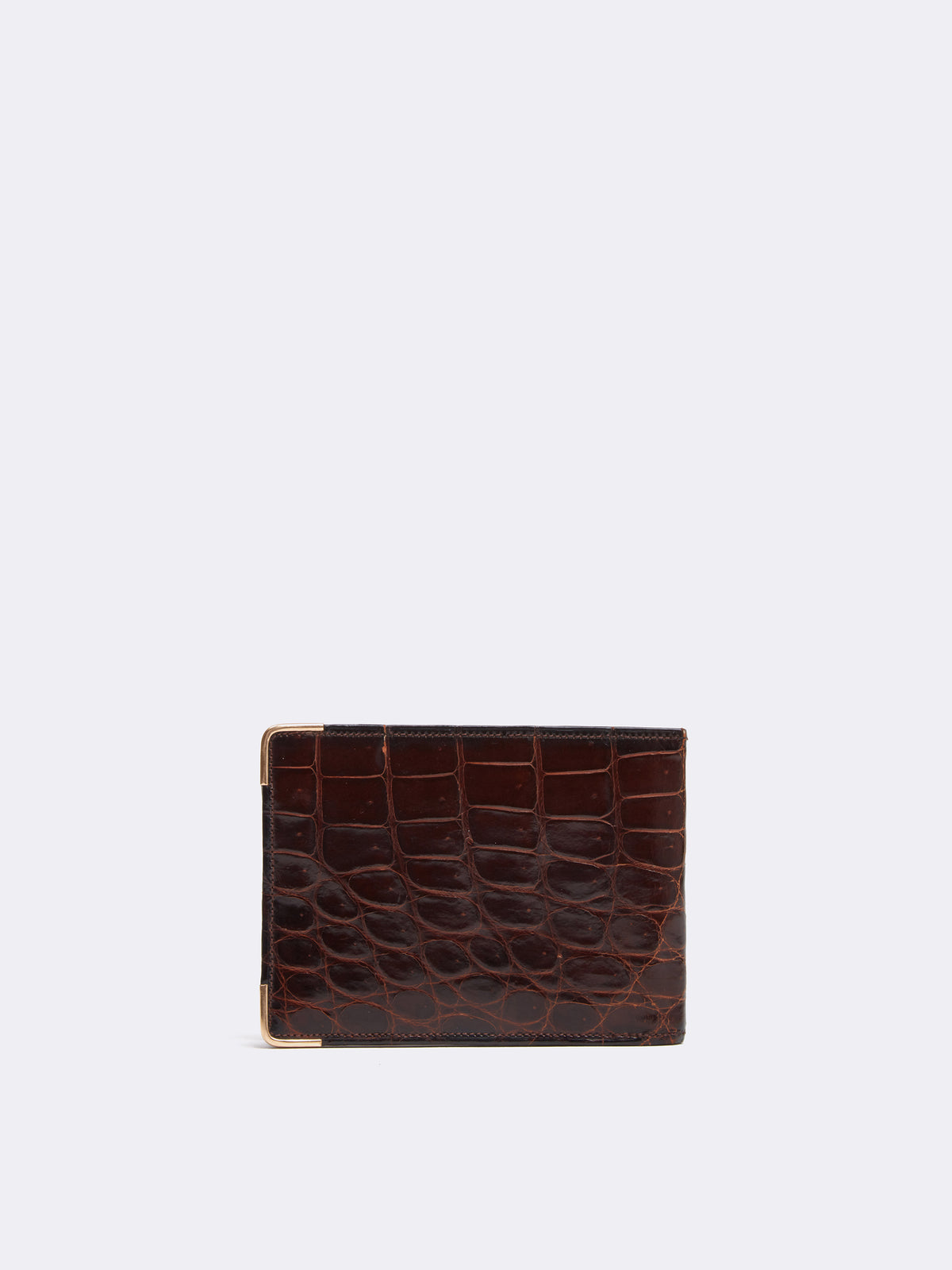 Mark Cross Archive Crocodile Bi-fold Wallet Chocolate Back