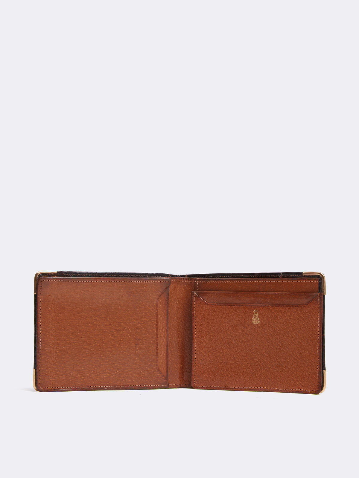 Mark Cross Archive Crocodile Bi-fold Wallet Chocolate Interior